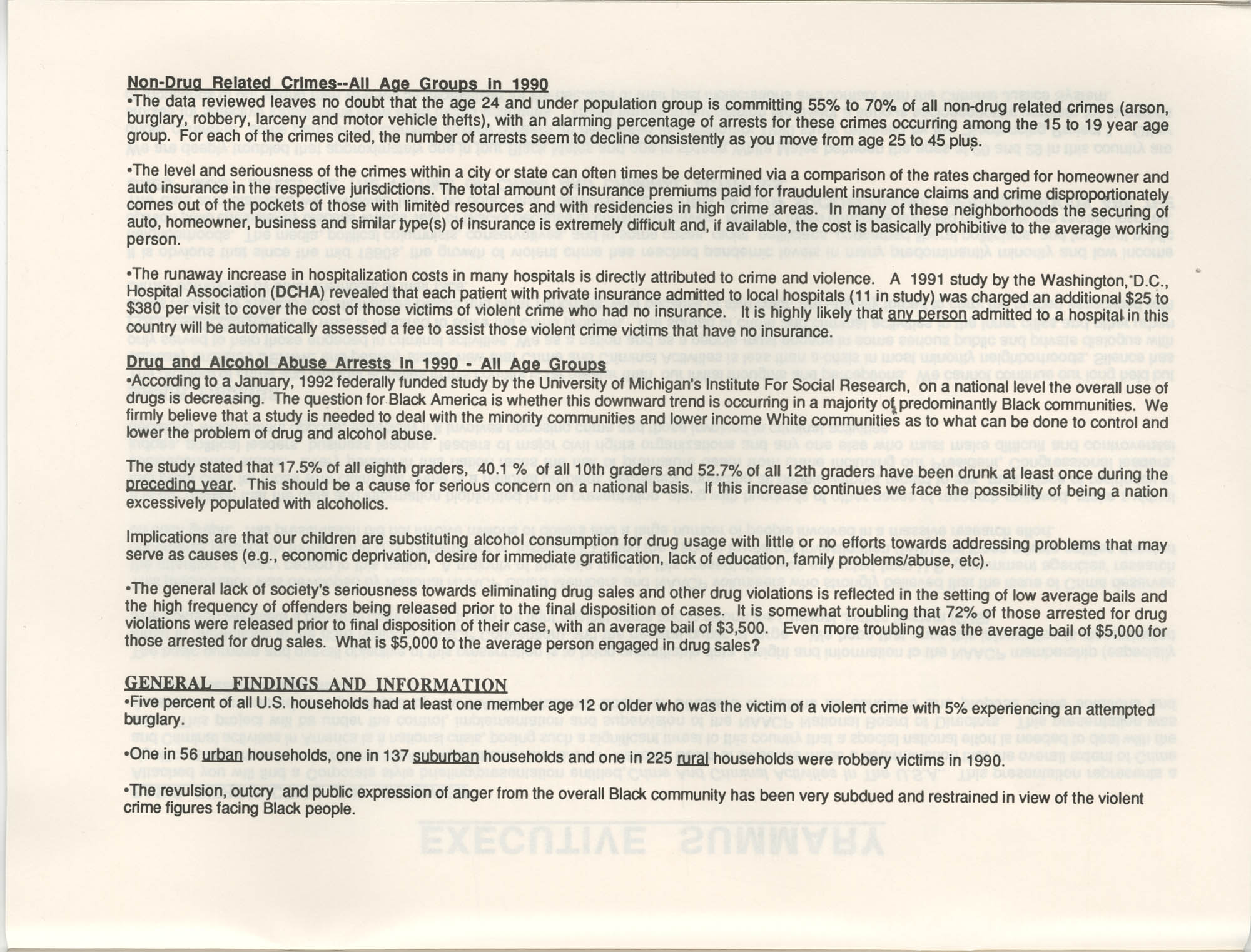 Crime and Criminal Activities in the U.S.A., NAACP National Board of Directors, Executive Summary, Page 2