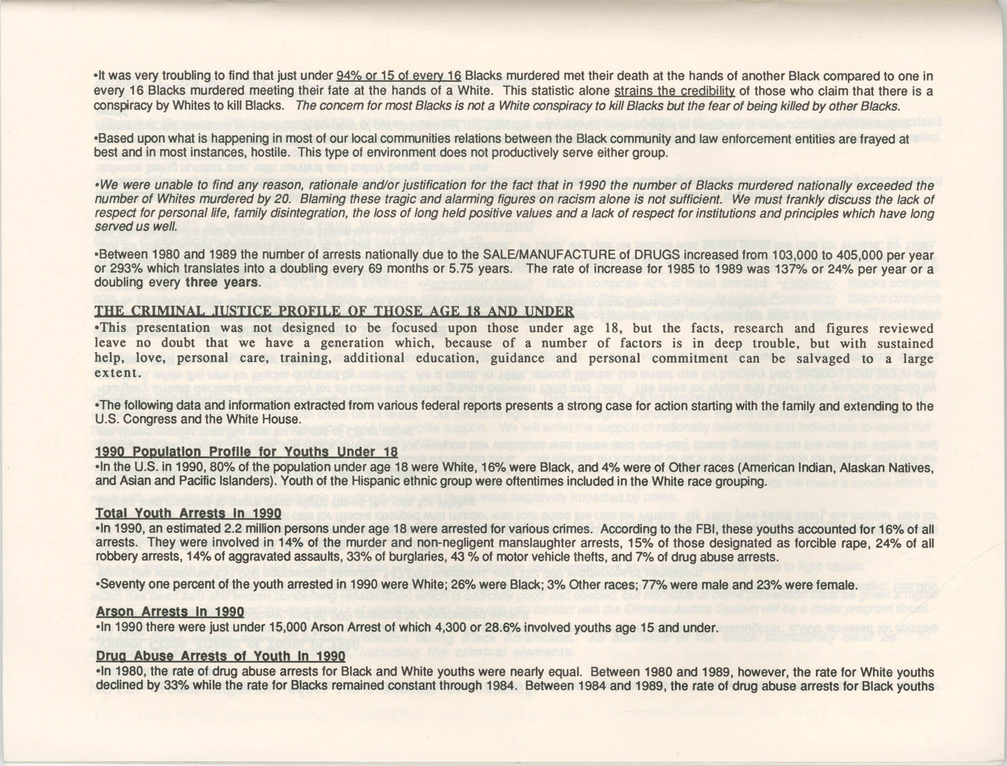 Crime and Criminal Activities in the U.S.A., NAACP National Board of Directors, Executive Summary, Page 3