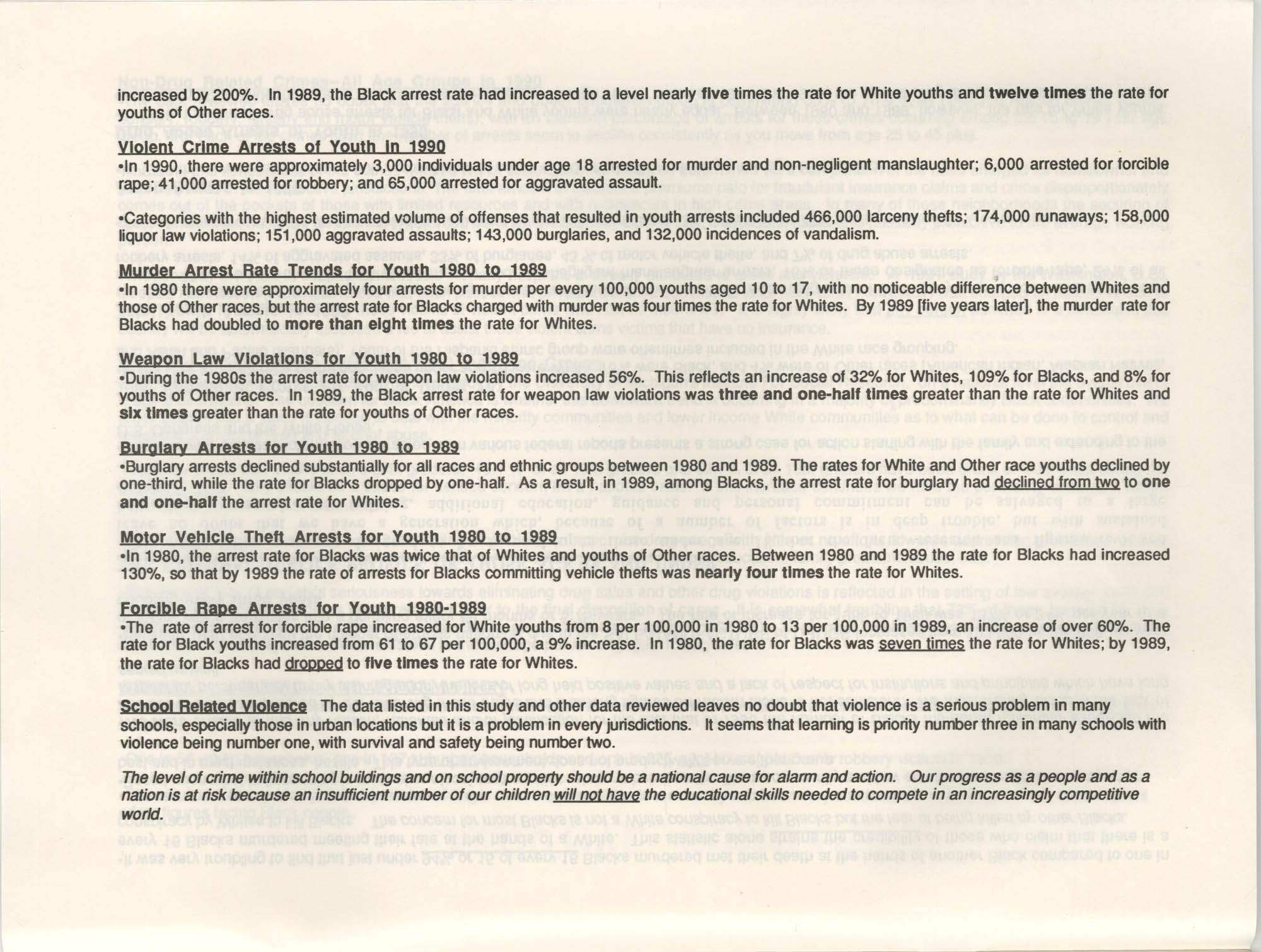 Crime and Criminal Activities in the U.S.A., NAACP National Board of Directors, Executive Summary, Page 4