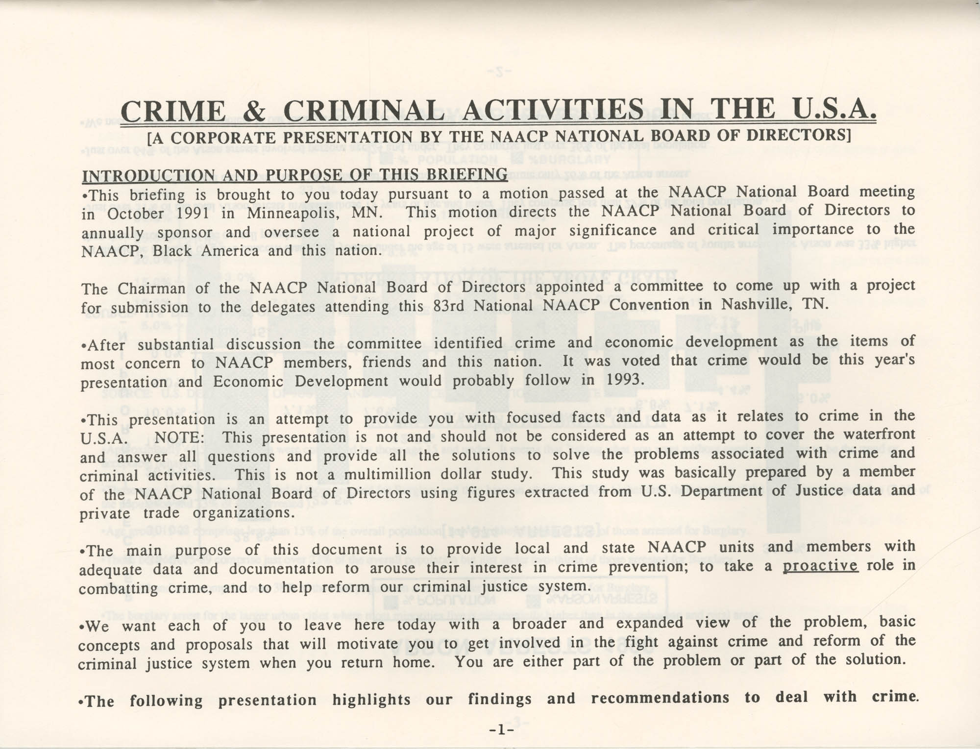 Crime and Criminal Activities in the U.S.A., NAACP National Board of Directors, Page 1