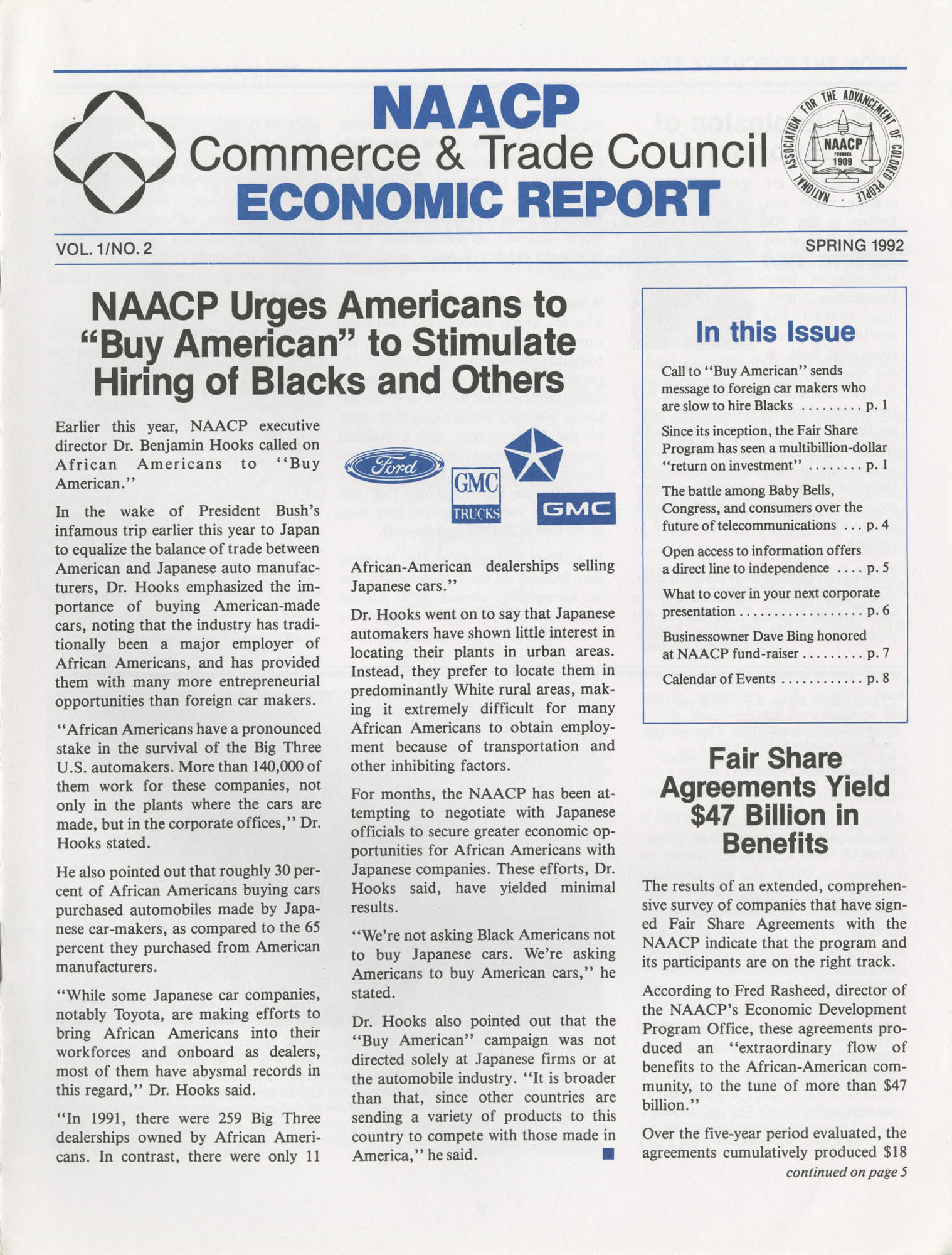 NAACP Commerce and Trade Council Economic Report, Vol. 1, No. 2, Spring 1992, Page 1