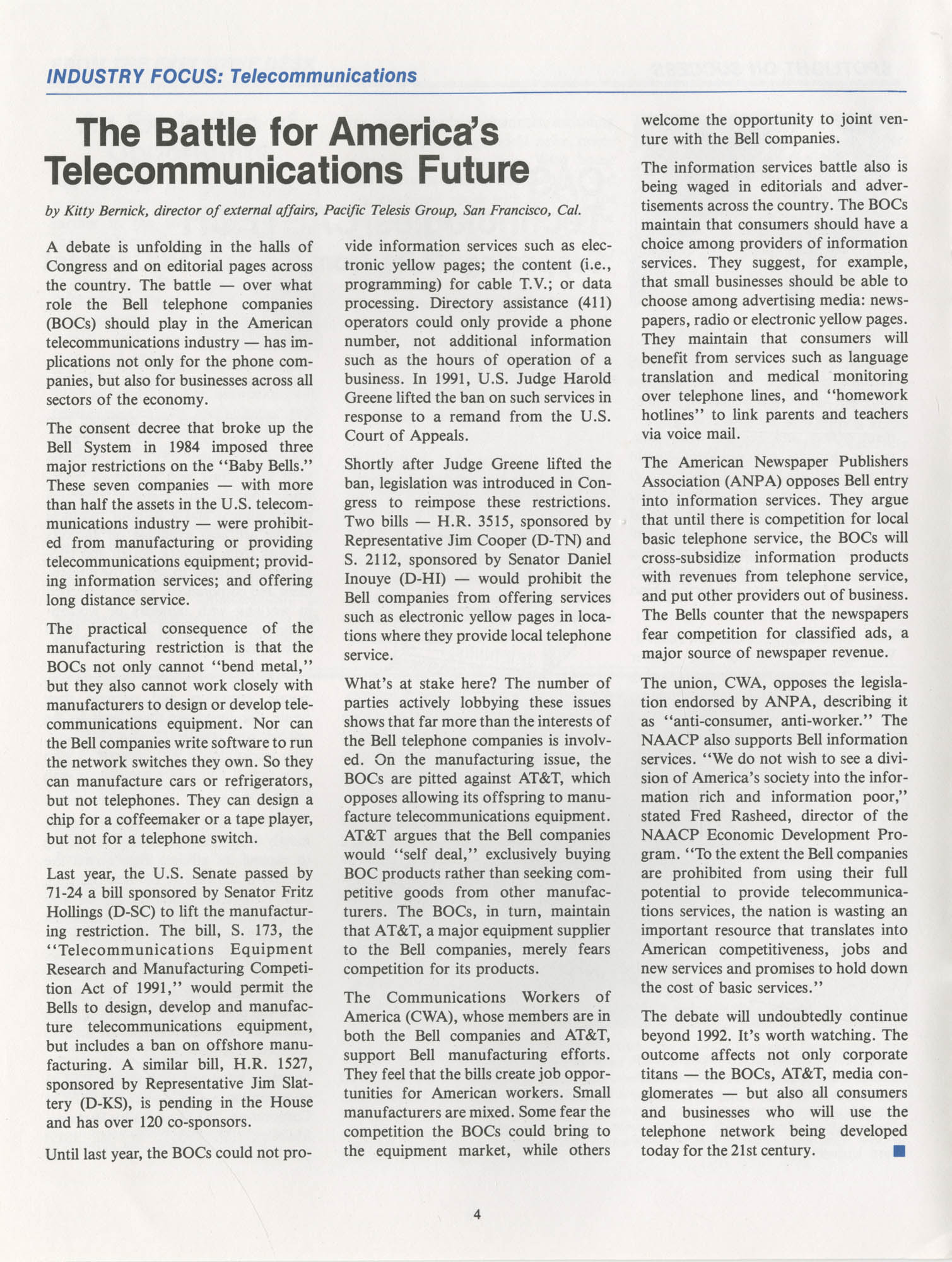 NAACP Commerce and Trade Council Economic Report, Vol. 1, No. 2, Spring 1992, Page 4