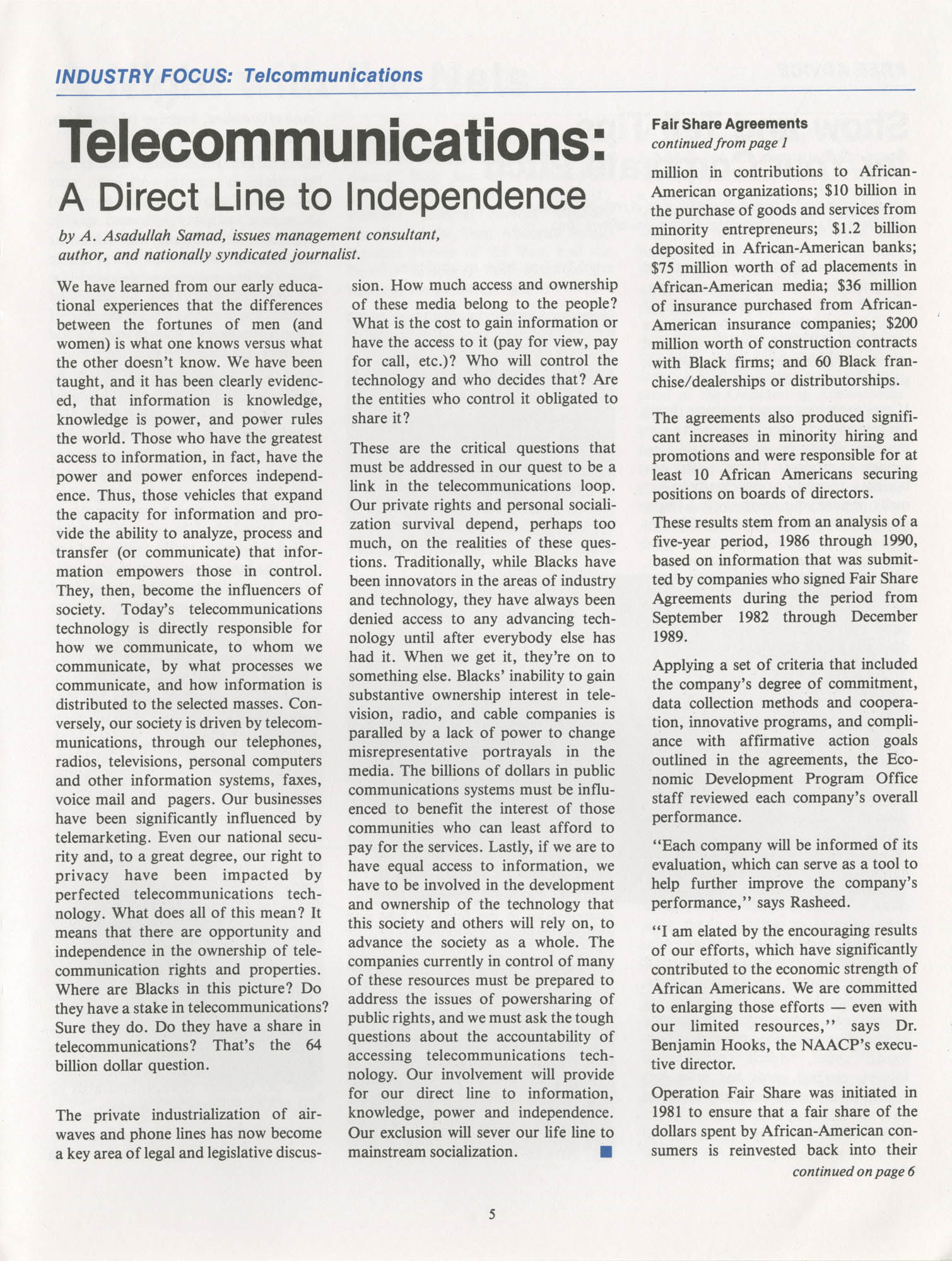 NAACP Commerce and Trade Council Economic Report, Vol. 1, No. 2, Spring 1992, Page 5