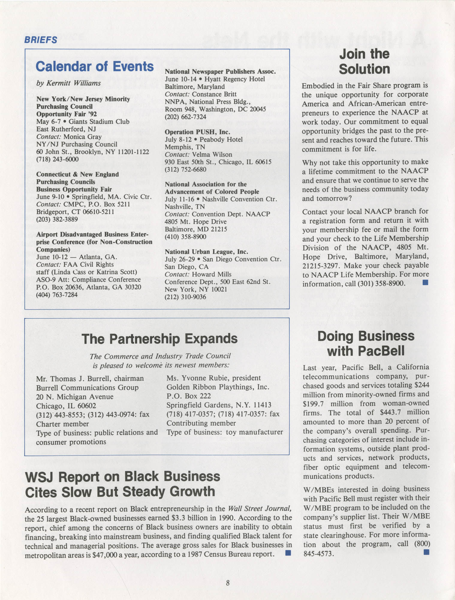 NAACP Commerce and Trade Council Economic Report, Vol. 1, No. 2, Spring 1992, Page 8