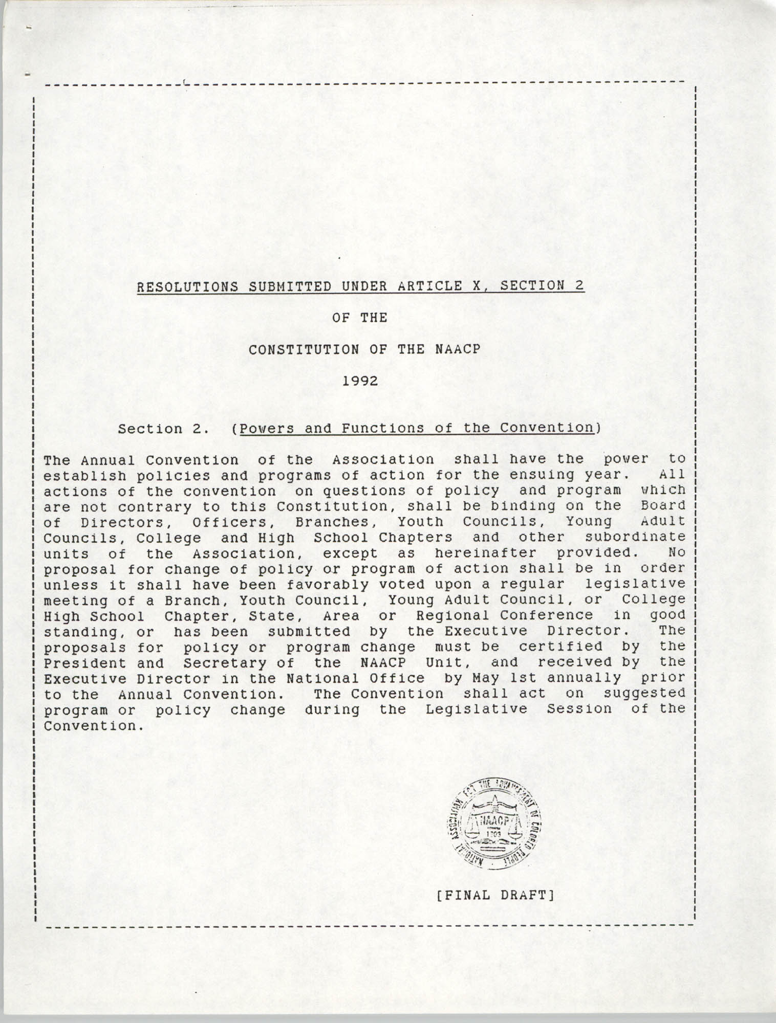 Resolutions Submitted Under Article X, Section 2 of the Constitution of the NAACP, 1992, Cover Page