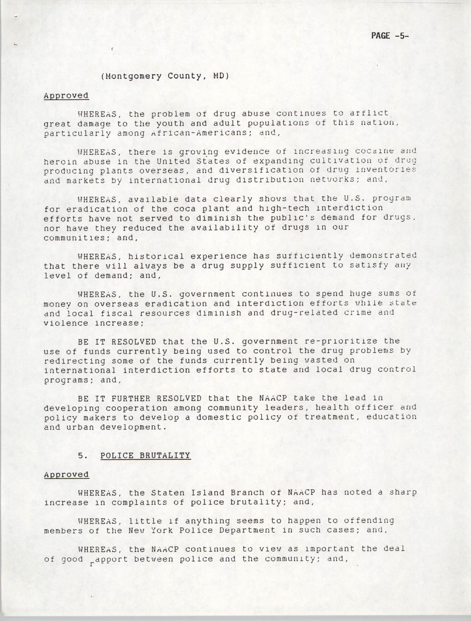 Resolutions Submitted Under Article X, Section 2 of the Constitution of the NAACP, 1992, Page 5
