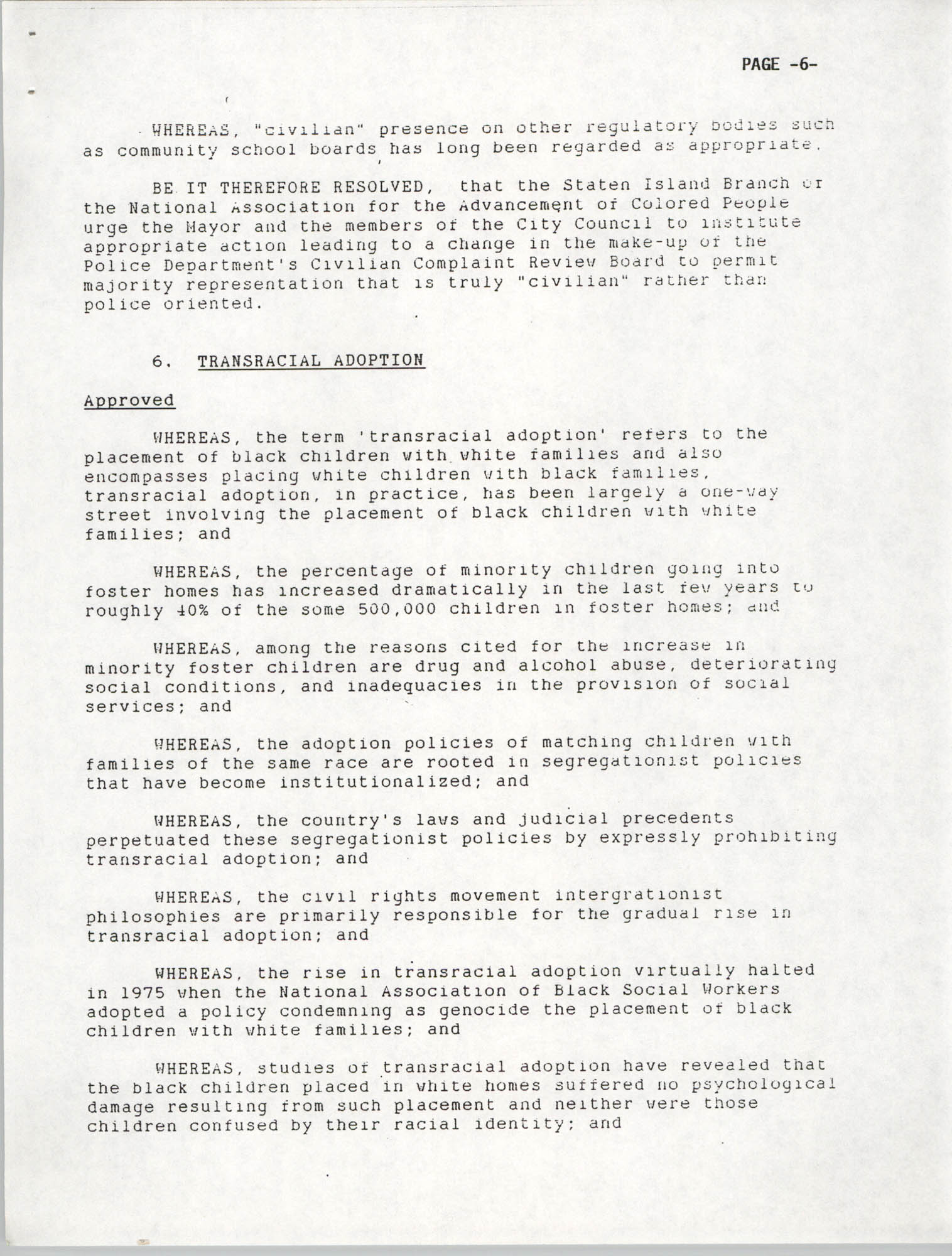 Resolutions Submitted Under Article X, Section 2 of the Constitution of the NAACP, 1992, Page 6
