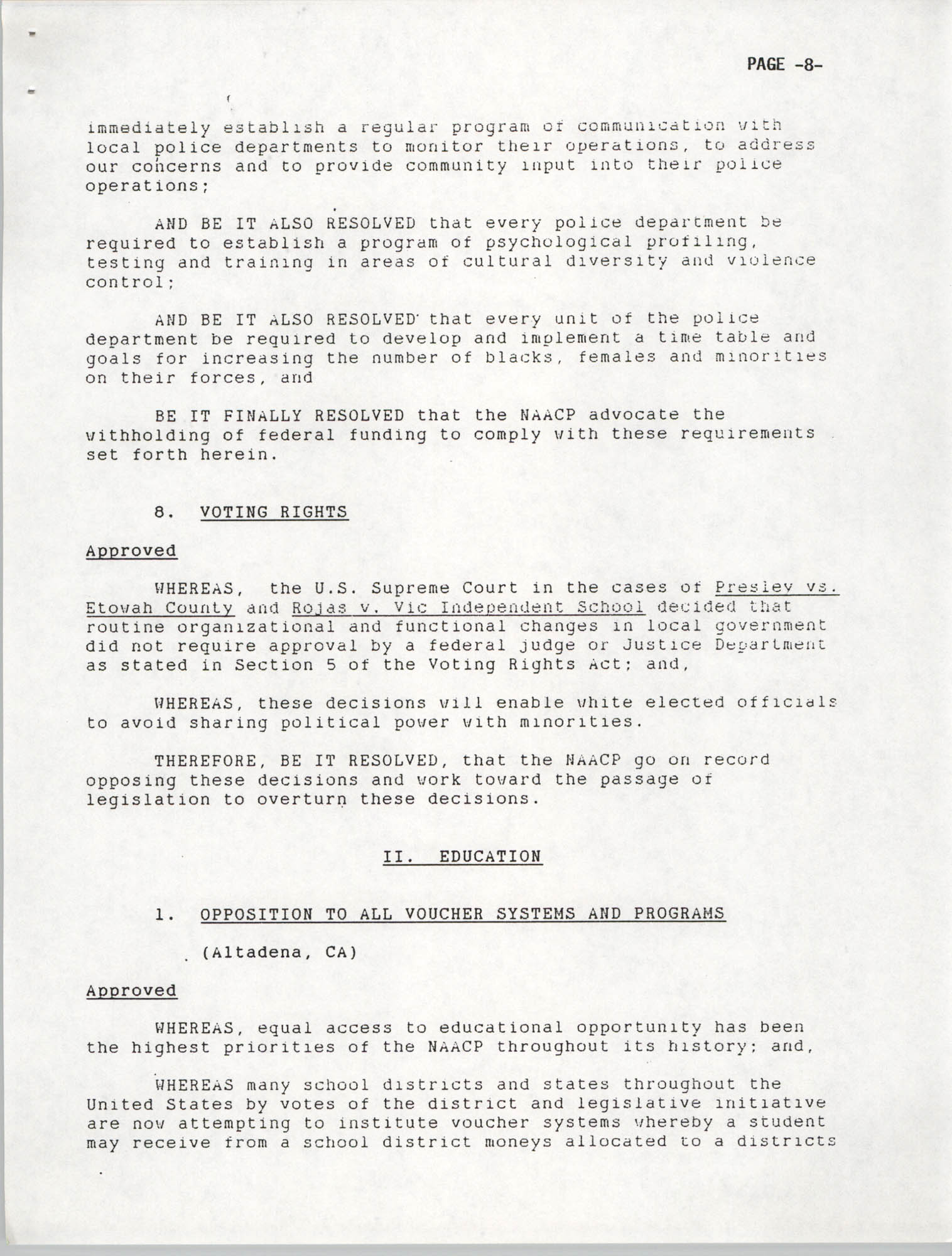 Resolutions Submitted Under Article X, Section 2 of the Constitution of the NAACP, 1992, Page 8