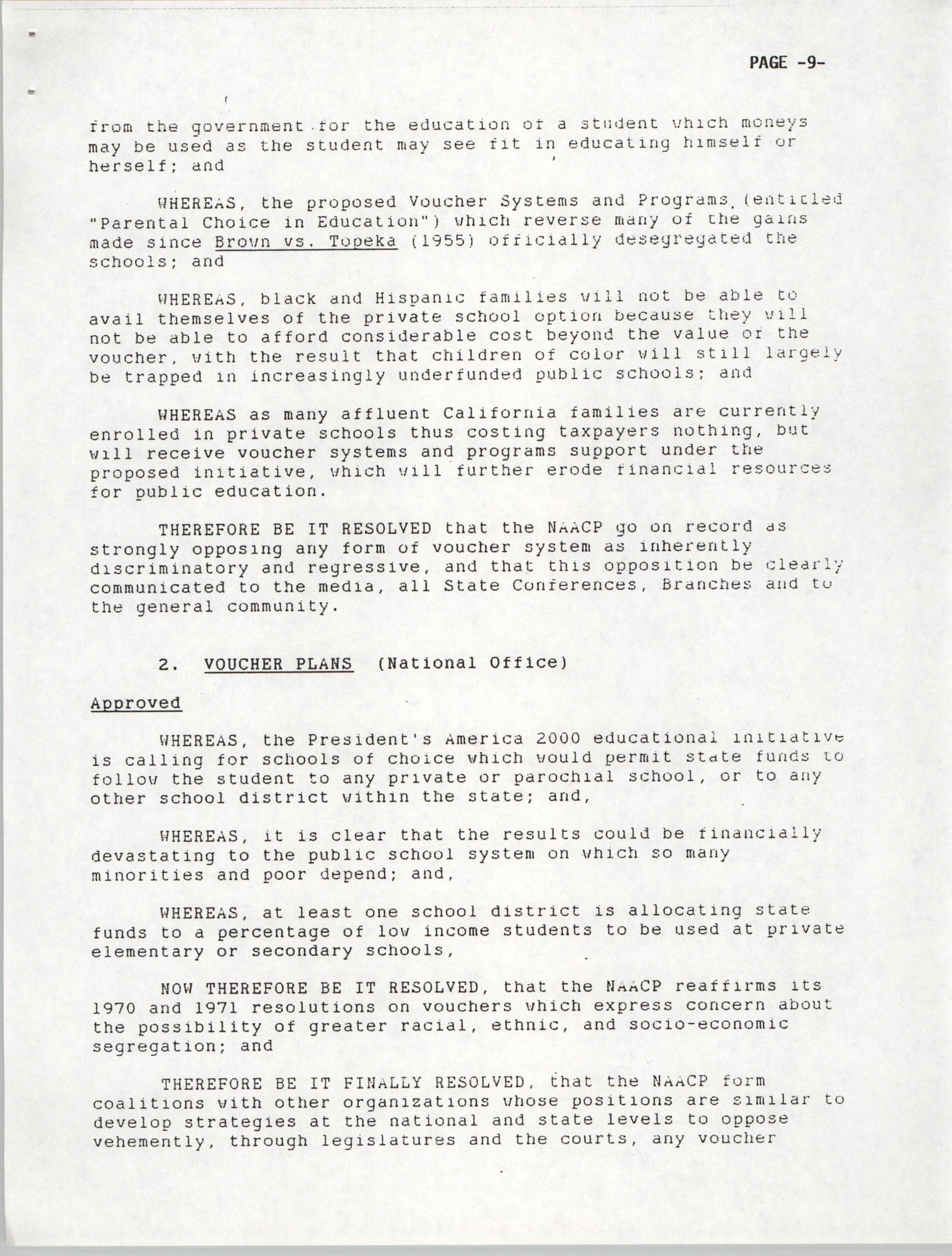Resolutions Submitted Under Article X, Section 2 of the Constitution of the NAACP, 1992, Page 9