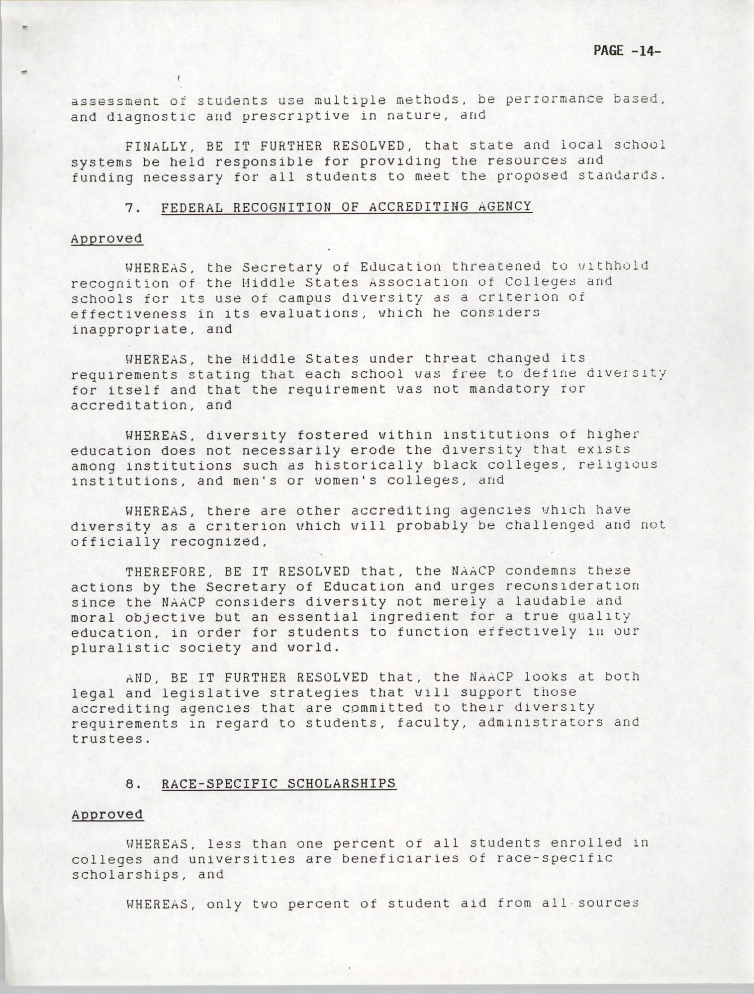 Resolutions Submitted Under Article X, Section 2 of the Constitution of the NAACP, 1992, Page 14