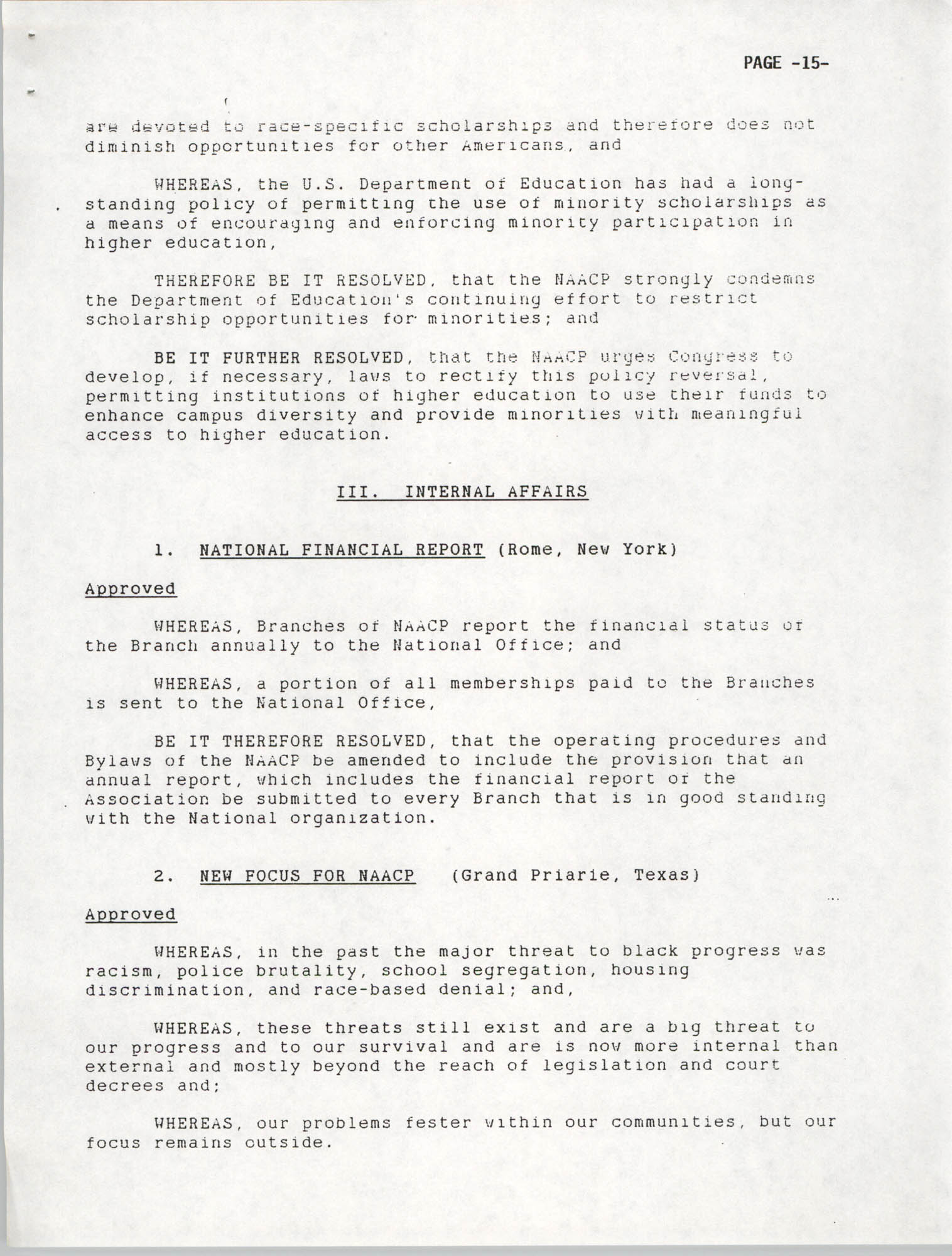Resolutions Submitted Under Article X, Section 2 of the Constitution of the NAACP, 1992, Page 15