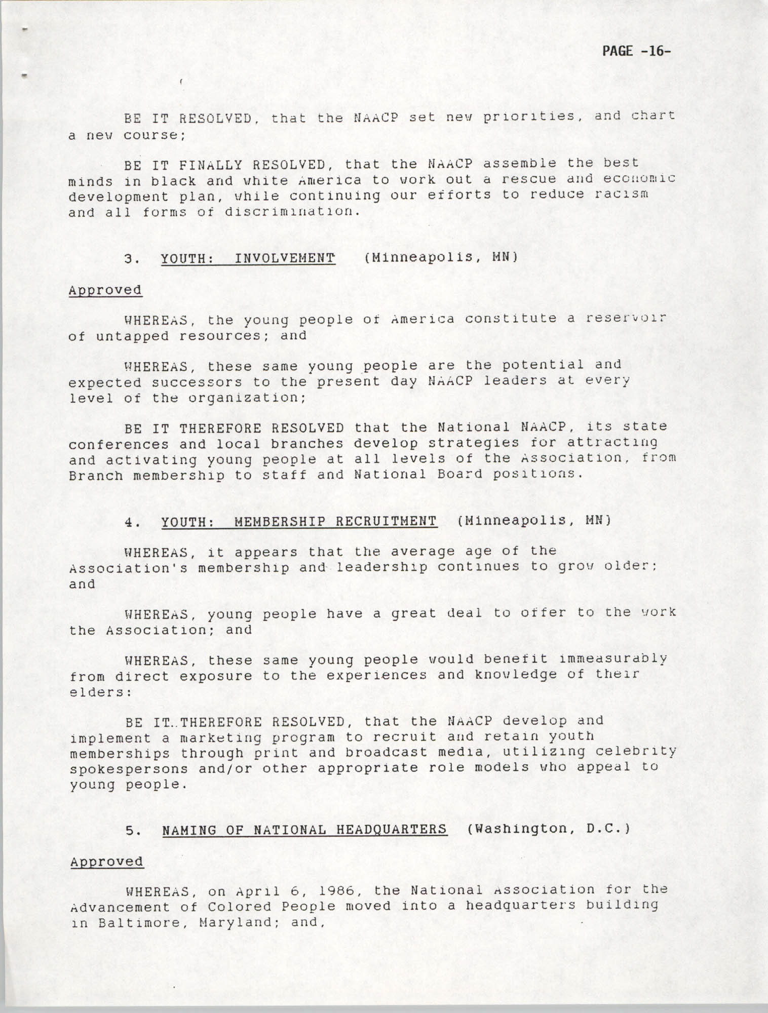 Resolutions Submitted Under Article X, Section 2 of the Constitution of the NAACP, 1992, Page 16