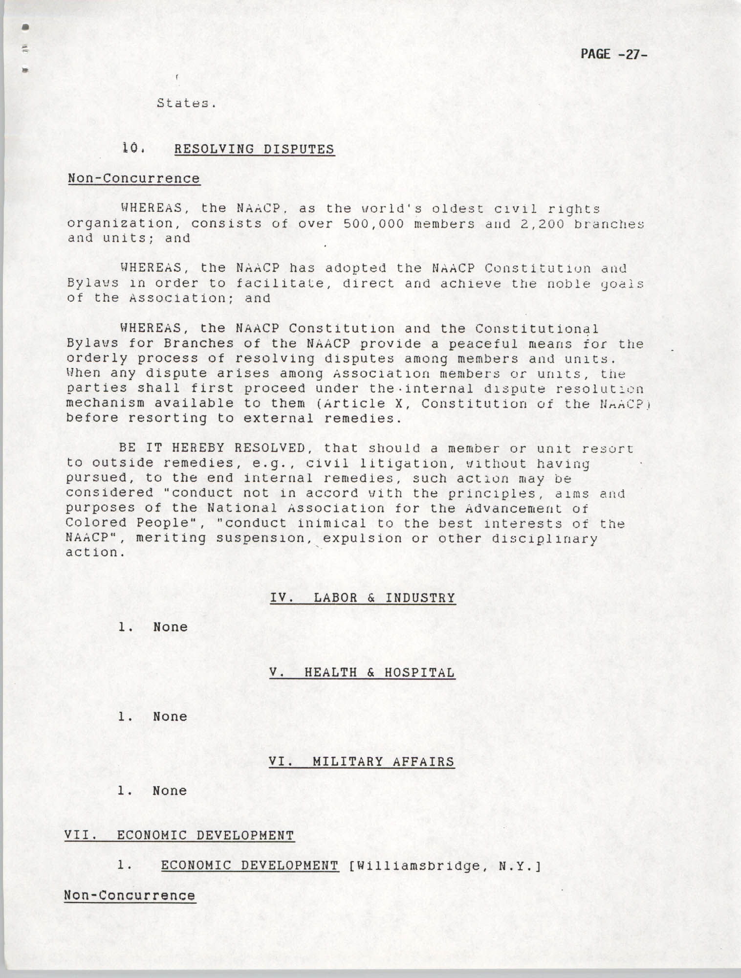 Resolutions Submitted Under Article X, Section 2 of the Constitution of the NAACP, 1992, Page 27
