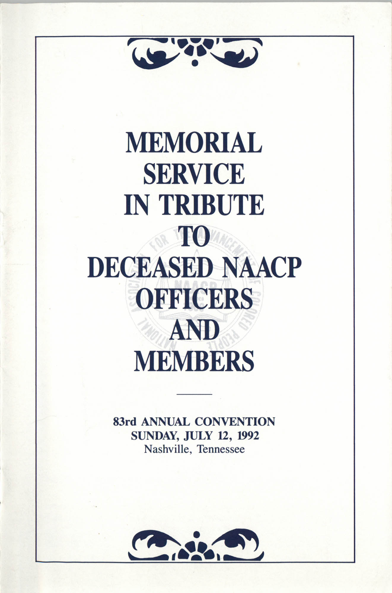 Memorial Service in Tribute to Deceased NAACP Officers and Member, July 12, 1992, Cover