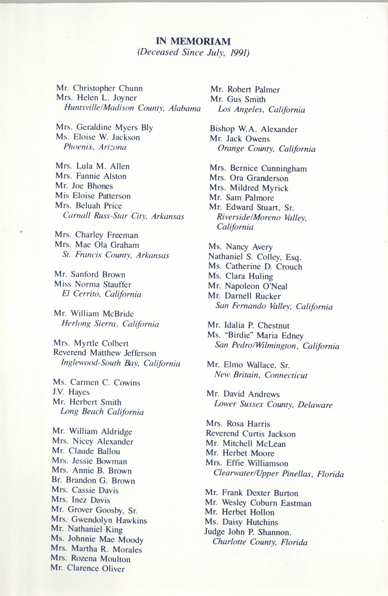 Memorial Service in Tribute to Deceased NAACP Officers and Member, July 12, 1992, Page 4