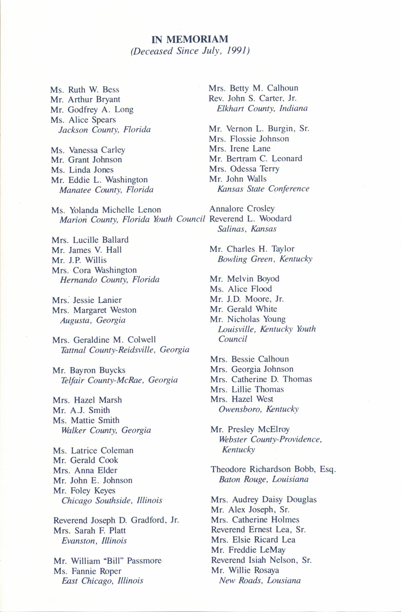 Memorial Service in Tribute to Deceased NAACP Officers and Member, July 12, 1992, Page 5