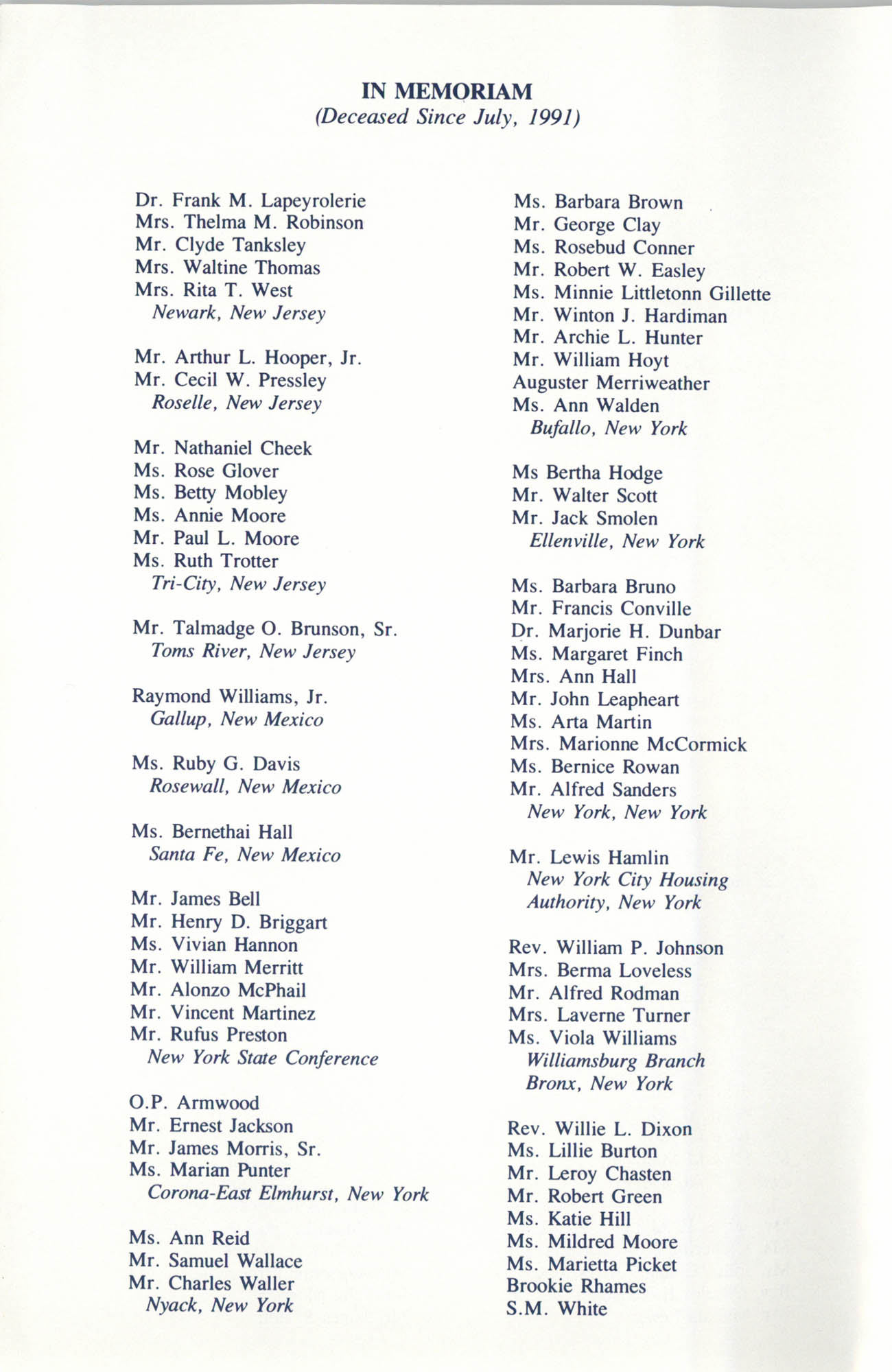 Memorial Service in Tribute to Deceased NAACP Officers and Member, July 12, 1992, Page 7
