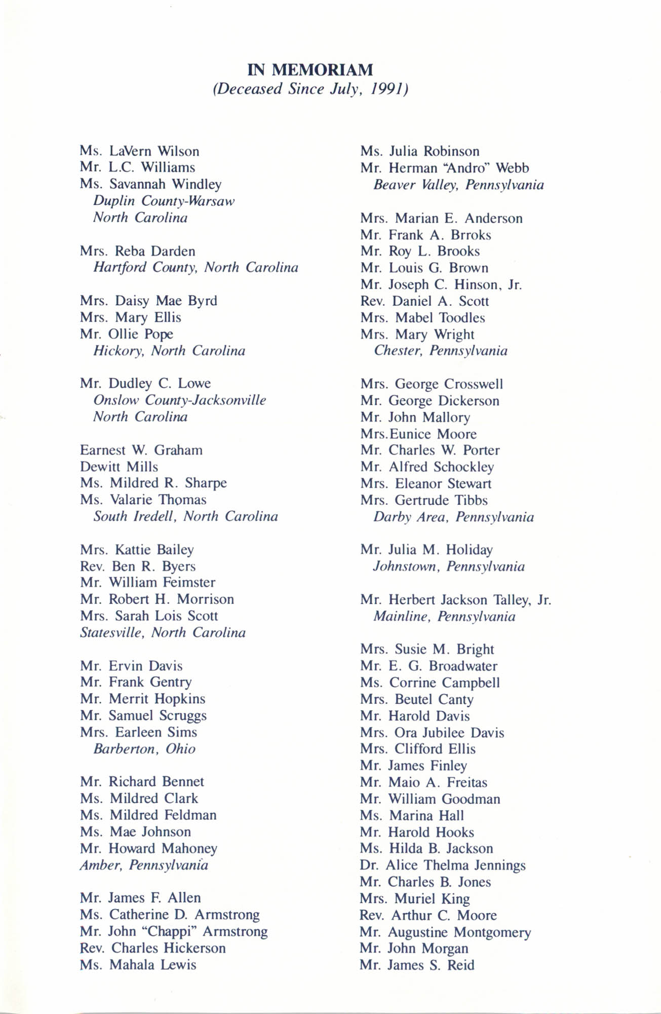 Memorial Service in Tribute to Deceased NAACP Officers and Member, July 12, 1992, Page 8
