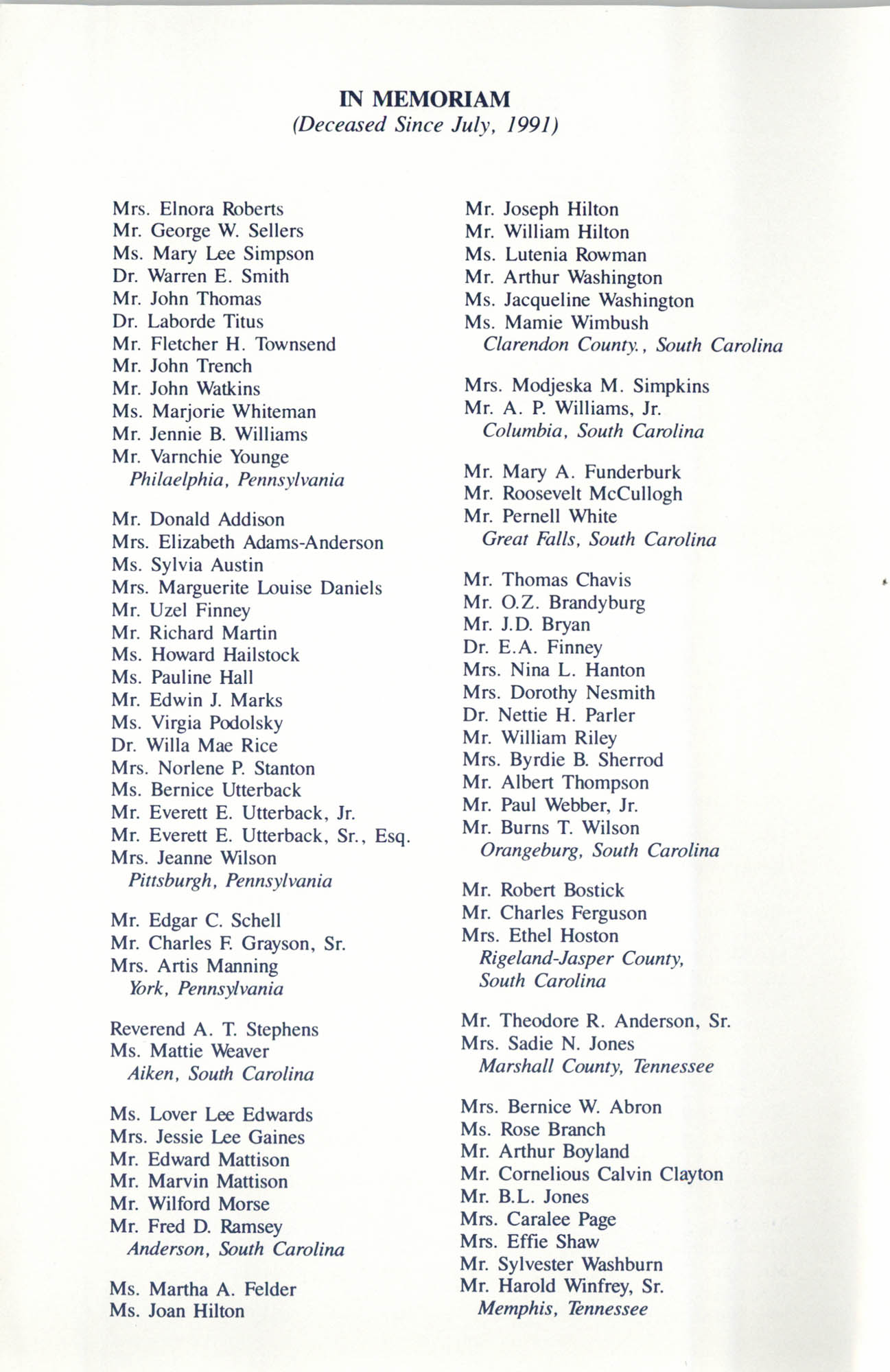 Memorial Service in Tribute to Deceased NAACP Officers and Member, July 12, 1992, Page 9