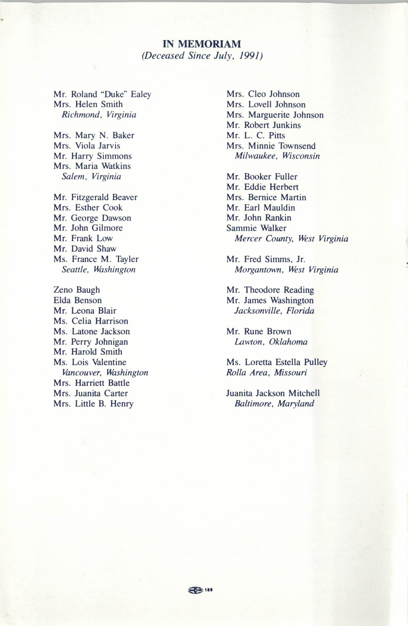 Memorial Service in Tribute to Deceased NAACP Officers and Member, July 12, 1992, Page 11