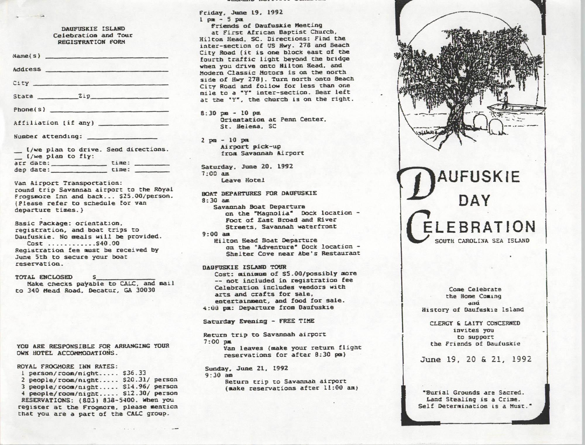 Daufuskie Day Celebration Pamphlet, Page 1