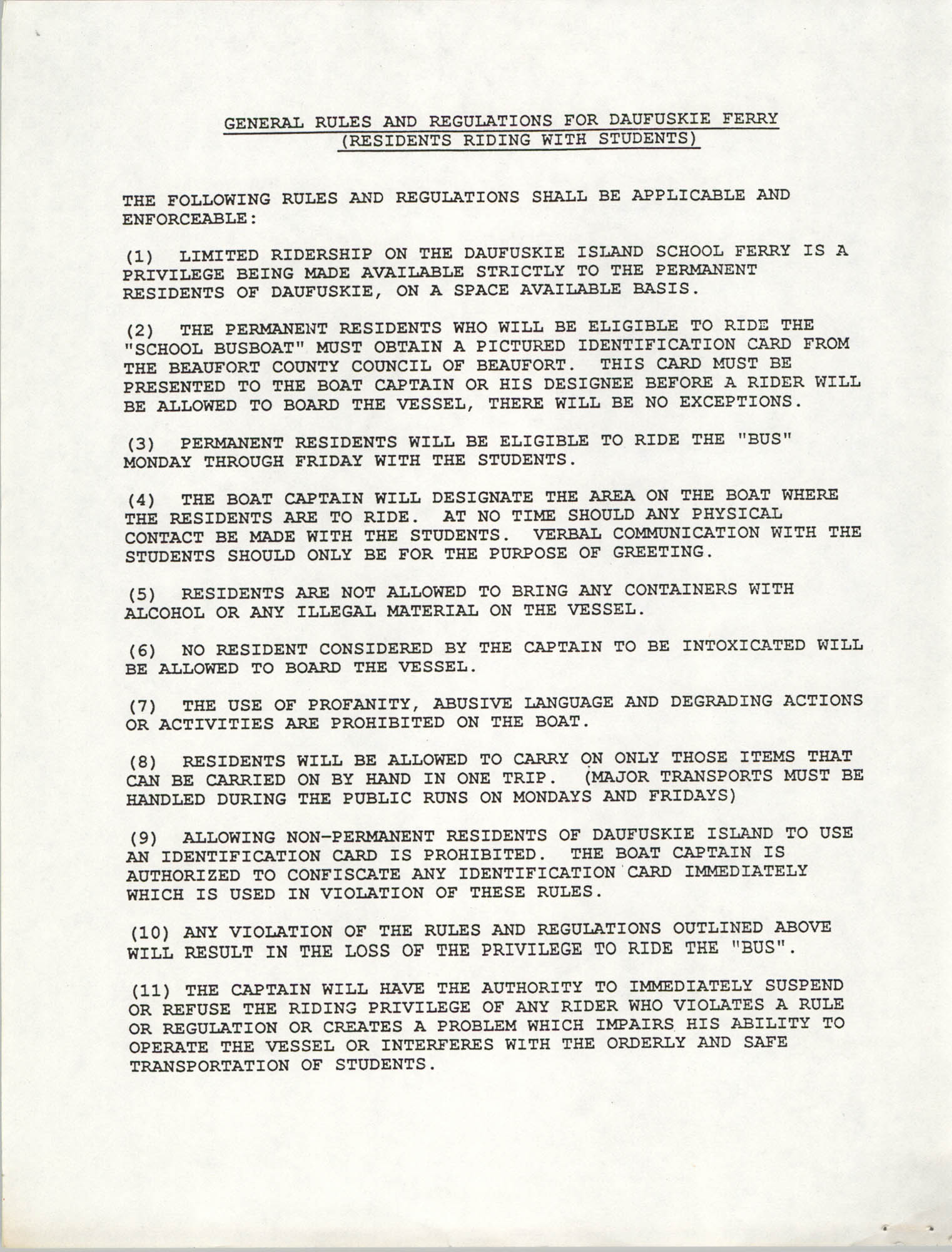 General Rules and Regulations for Daufuskie Ferry, Page 1