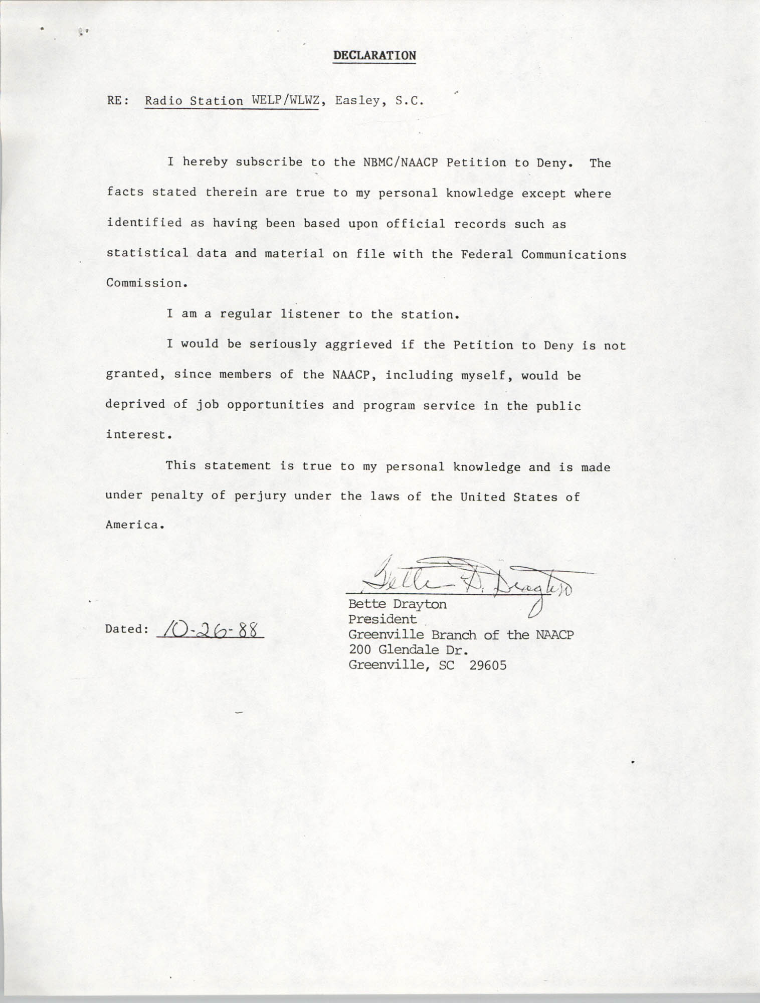 NAACP Petition Submitted Before the Federal Communications Commission, Declaration from Bette Drayton