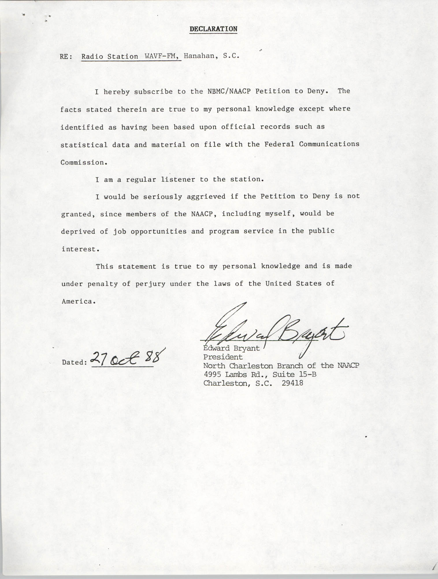NAACP Petition Submitted Before the Federal Communications Commission, Declaration from Edward Bryant