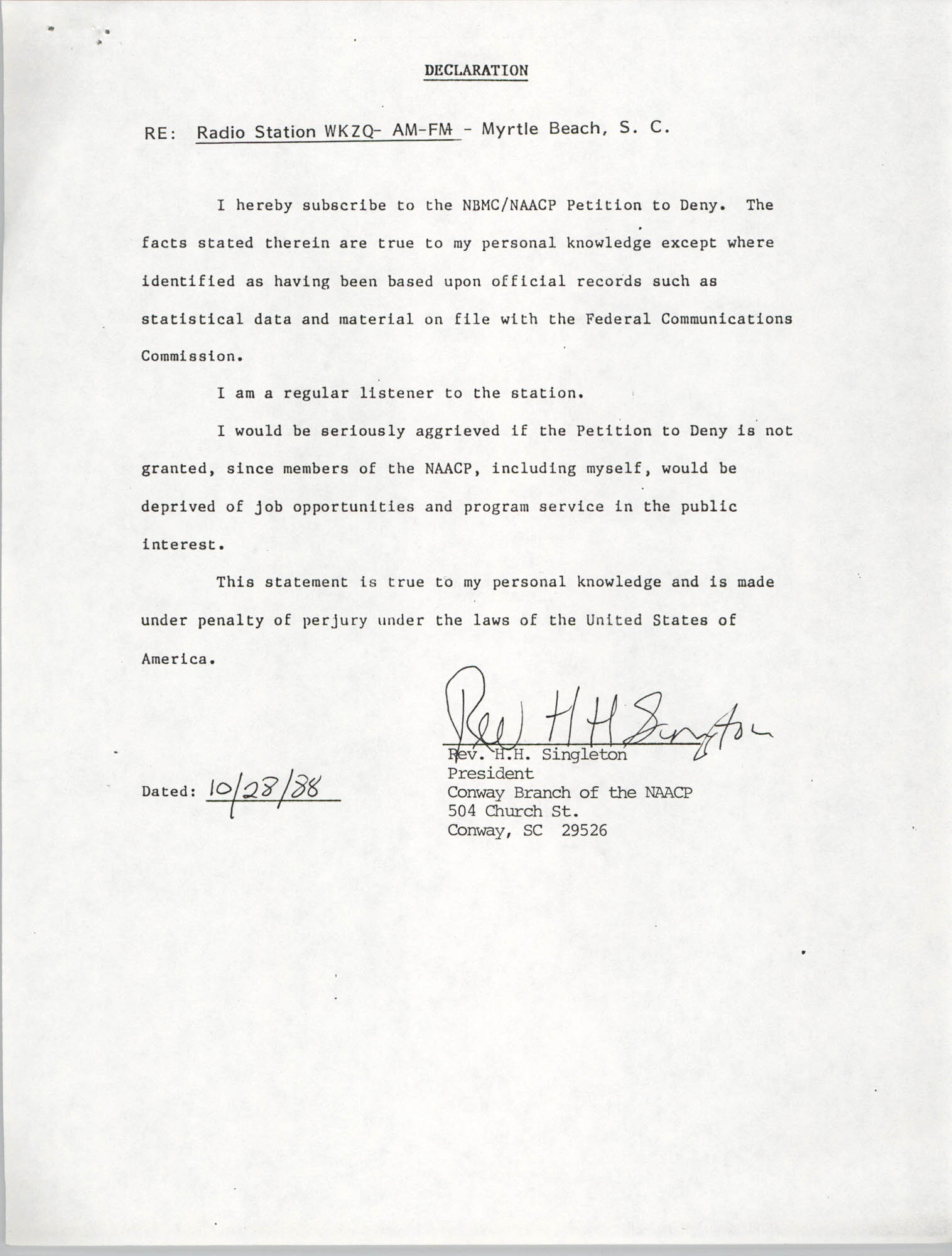 NAACP Petition Submitted Before the Federal Communications Commission, Declaration from Rev. H. H. Singleton