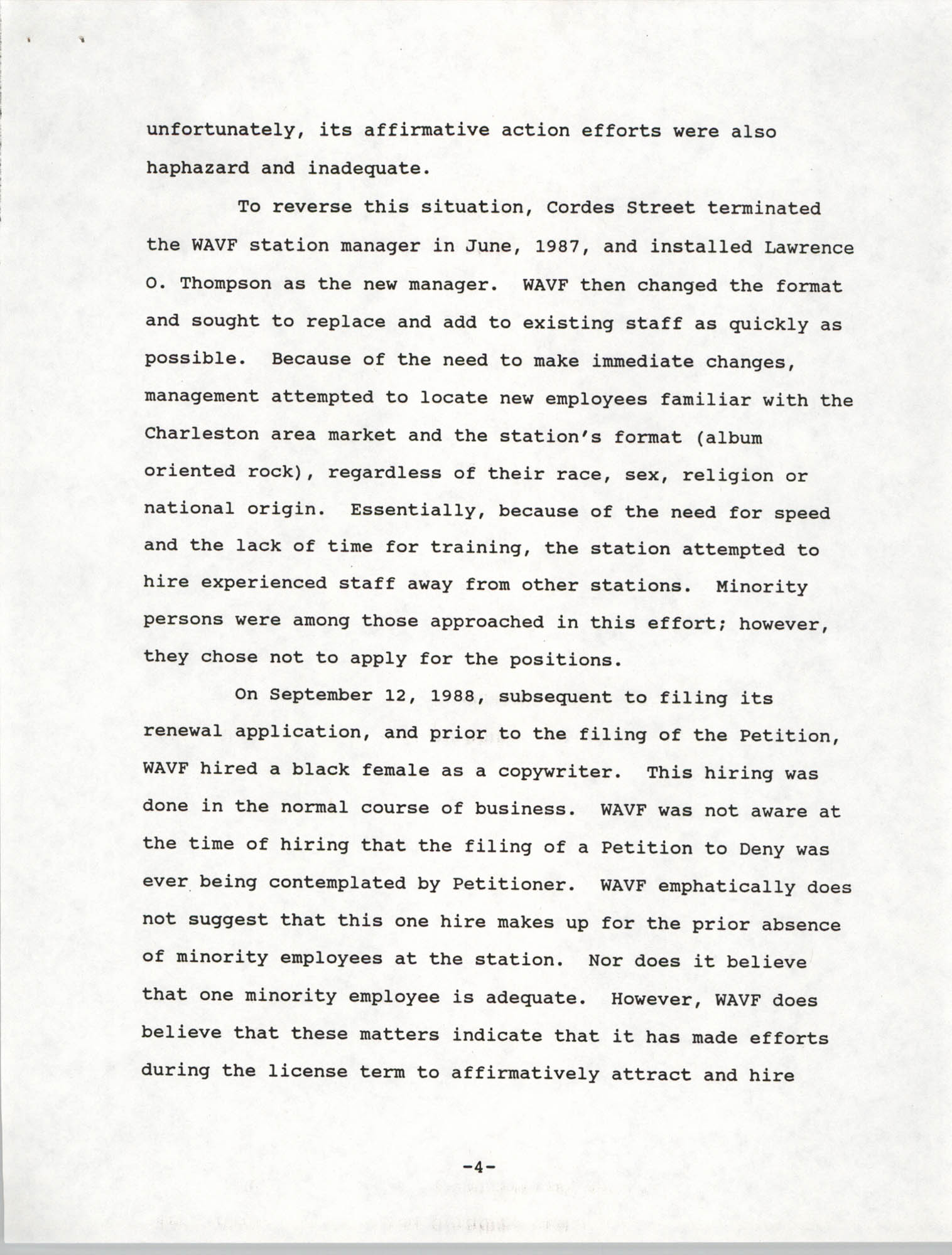 Federal Communications Commission In the Matter of Cordes Street Communications, Inc., Page 4