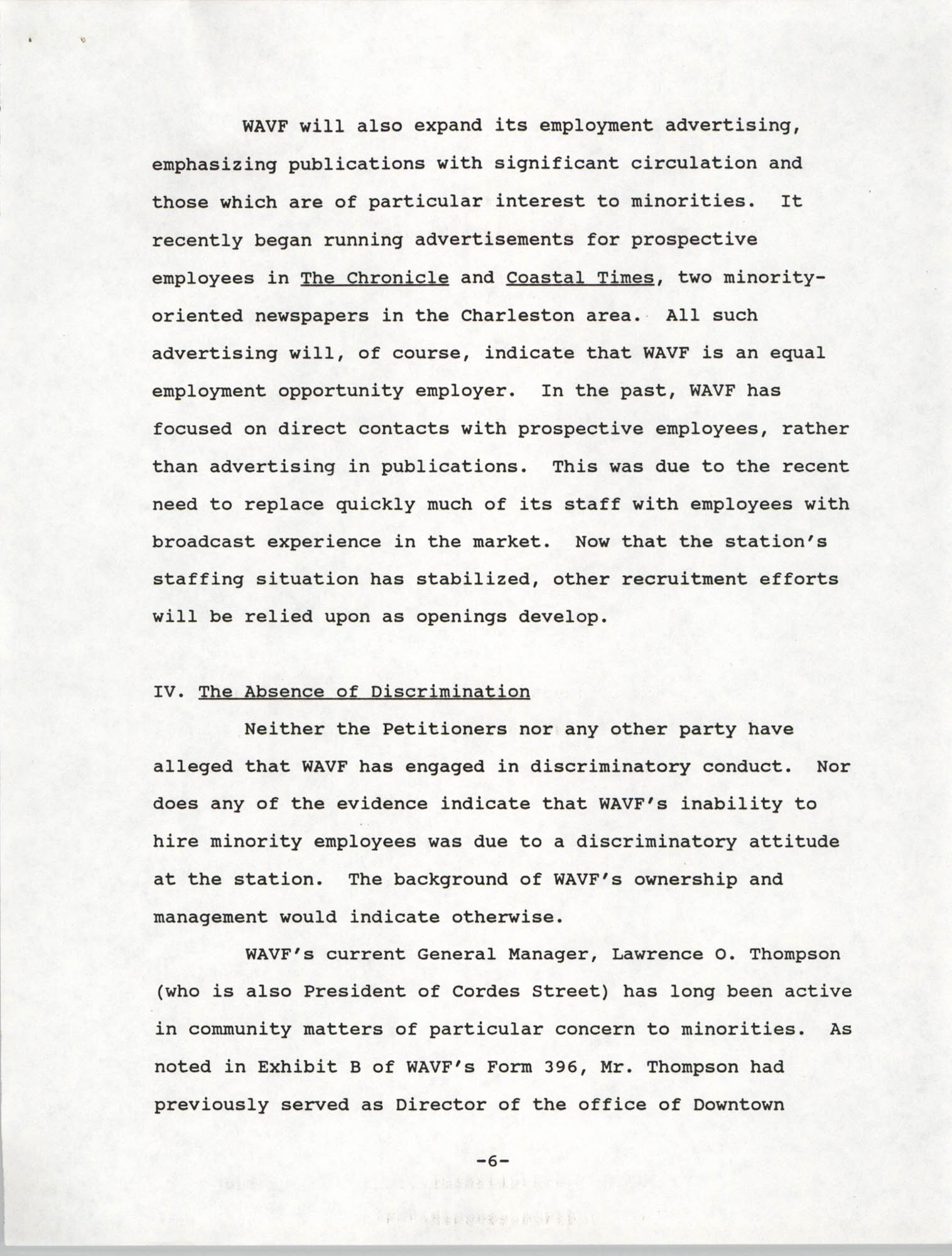 Federal Communications Commission In the Matter of Cordes Street Communications, Inc., Page 6