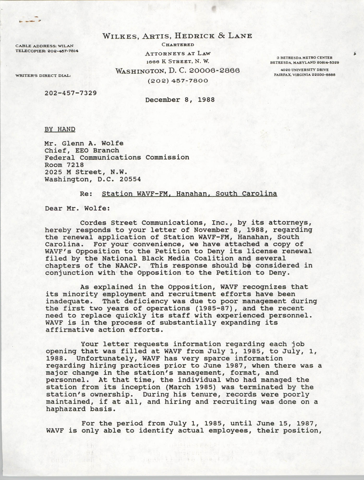 Letter from Martin J. Gaynes and Robert M. Gurss to Glenn A. Wolfe, December 8, 1988, Page 1