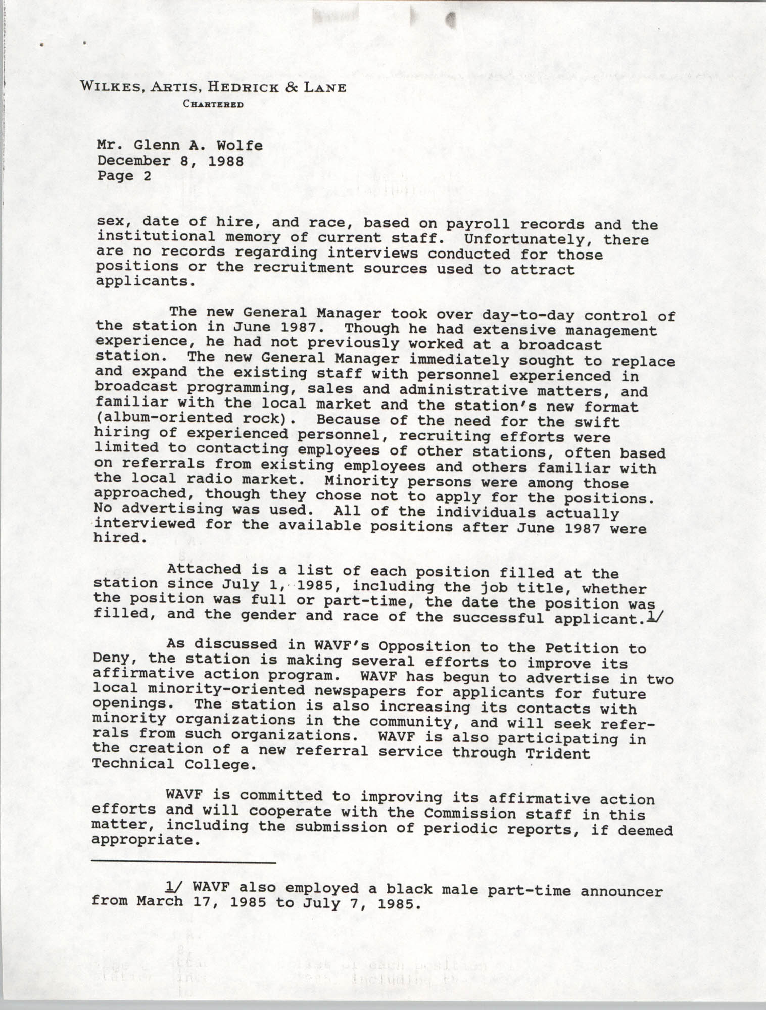Letter from Martin J. Gaynes and Robert M. Gurss to Glenn A. Wolfe, December 8, 1988, Page 2