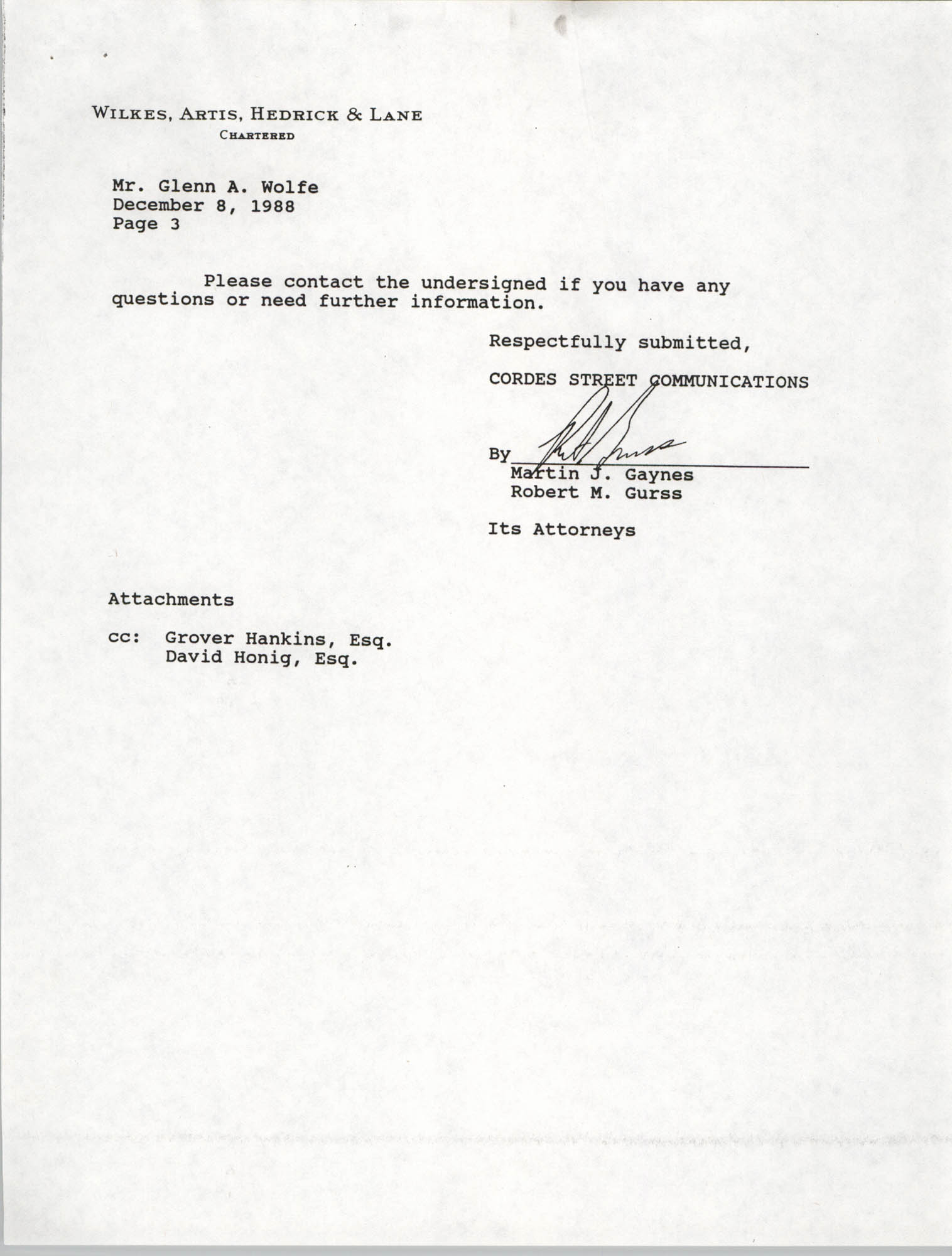 Letter from Martin J. Gaynes and Robert M. Gurss to Glenn A. Wolfe, December 8, 1988, Page 3