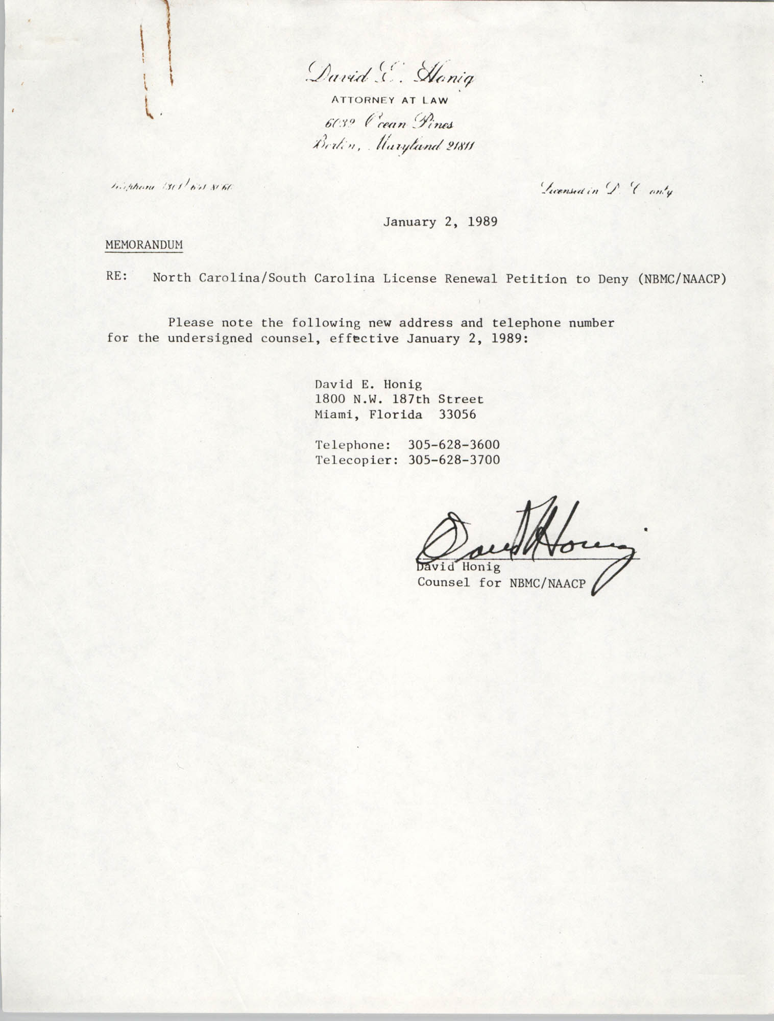 Memorandum from David Honig, January 2, 1989