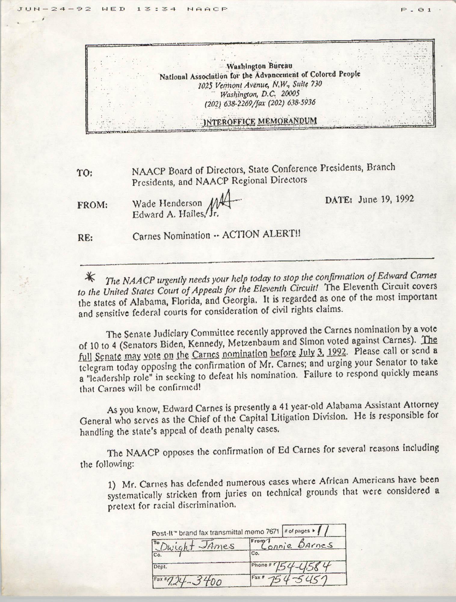 NAACP Washington Bureau Memorandum, June 19, 1992, Page 1