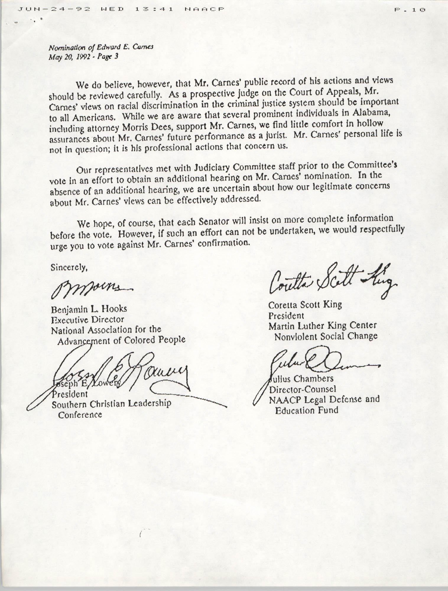 NAACP Washington Bureau Memorandum, June 19, 1992, Page 10