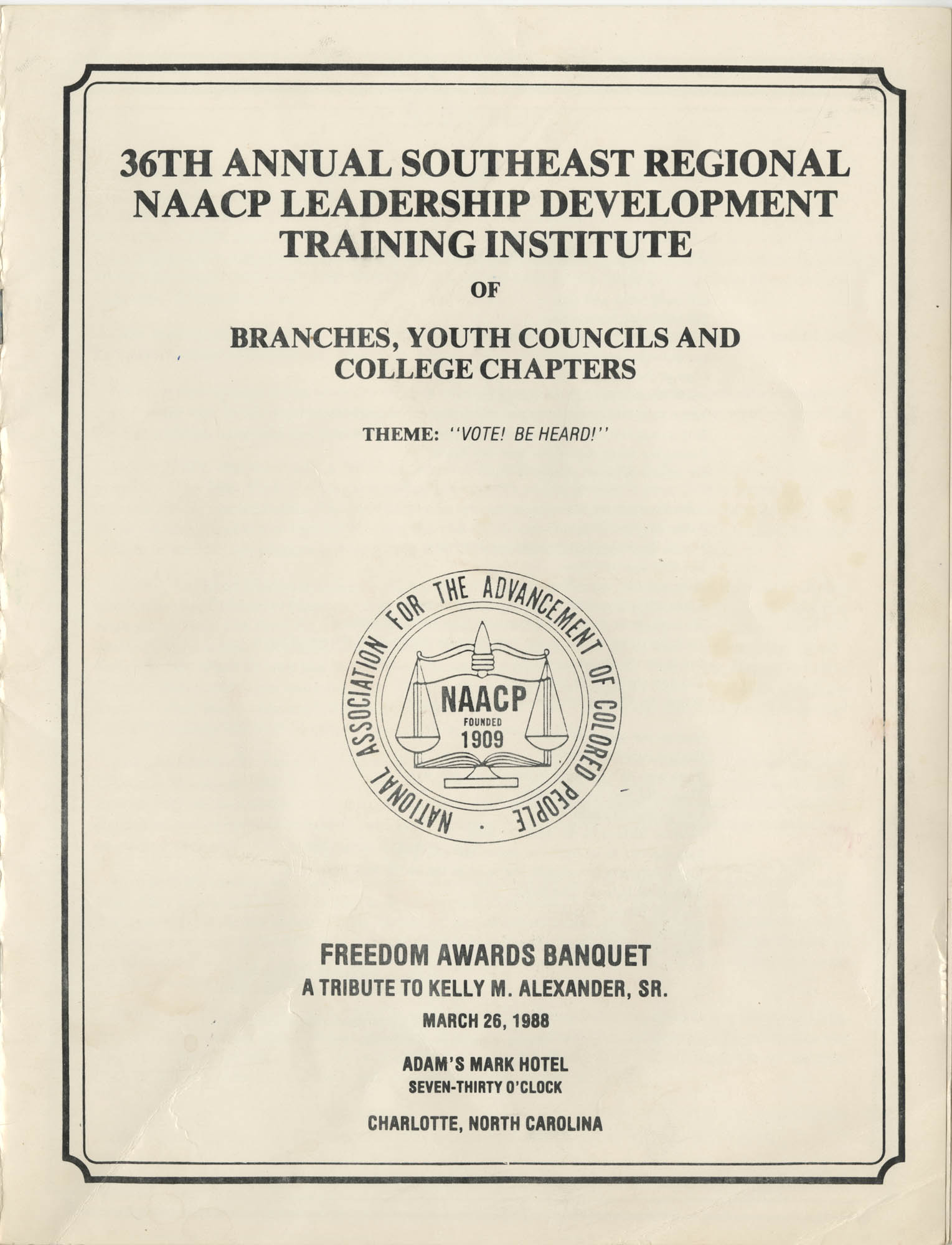 36th Annual Southeast Regional NAACP Leadership Development Training Institute, Front Cover Exterior