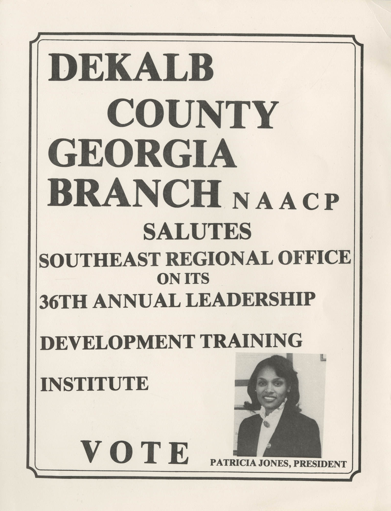 36th Annual Southeast Regional NAACP Leadership Development Training Institute, Back Cover Interior