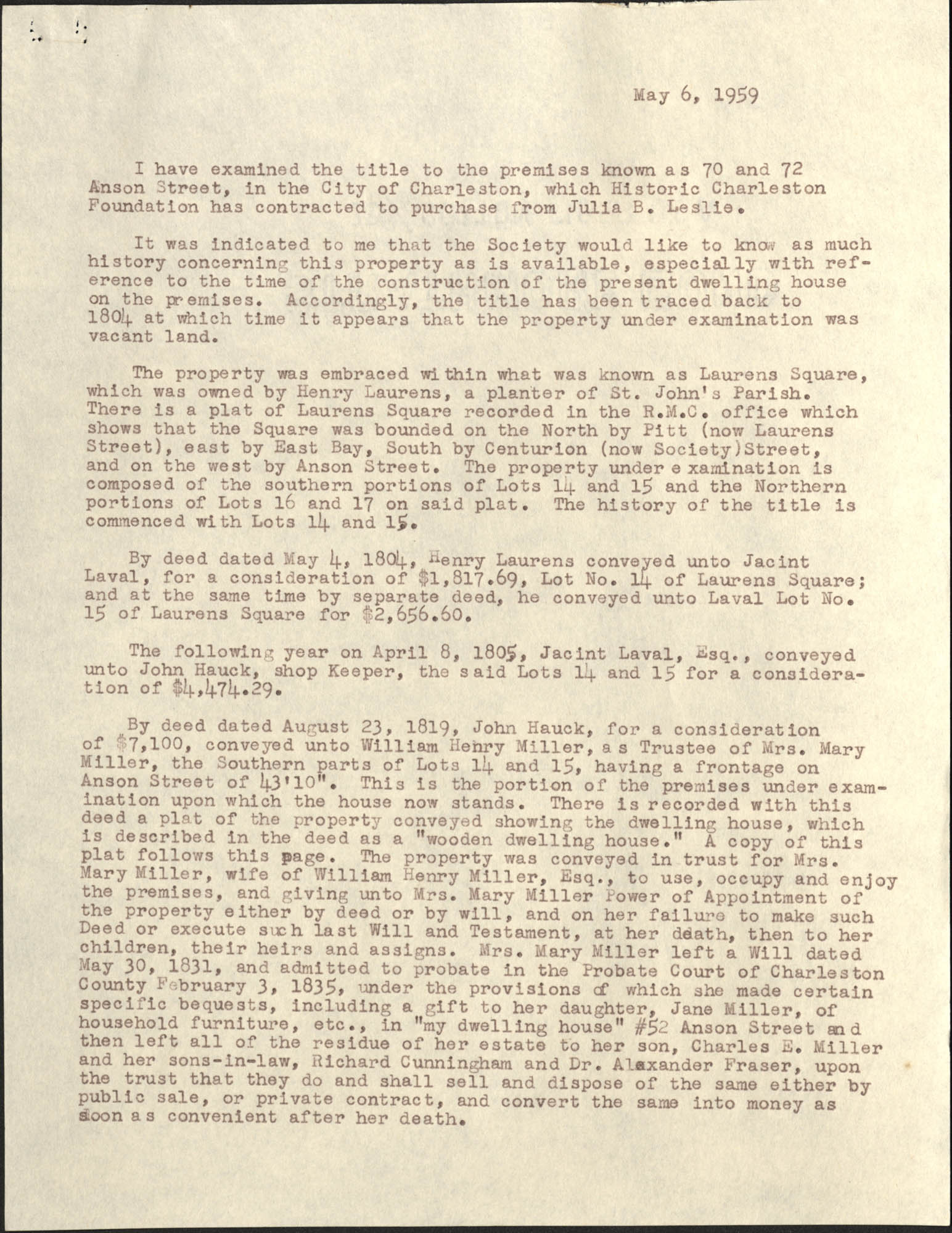 Letter from S. Henry Edmunds to Ben Scott Whaley, May 6, 1959, Page 1