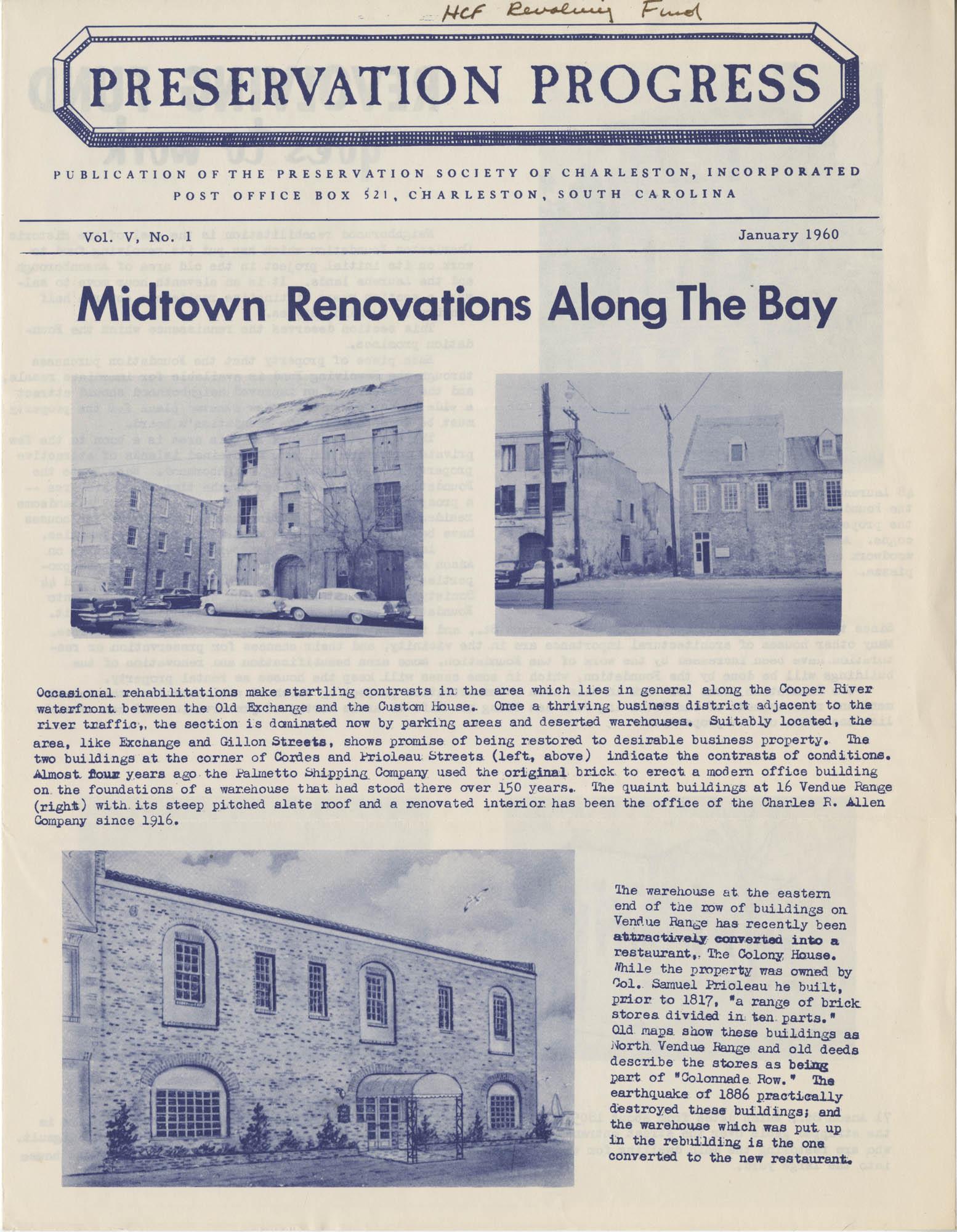 Preservation Progress, Vol. V, No. 1, Cover