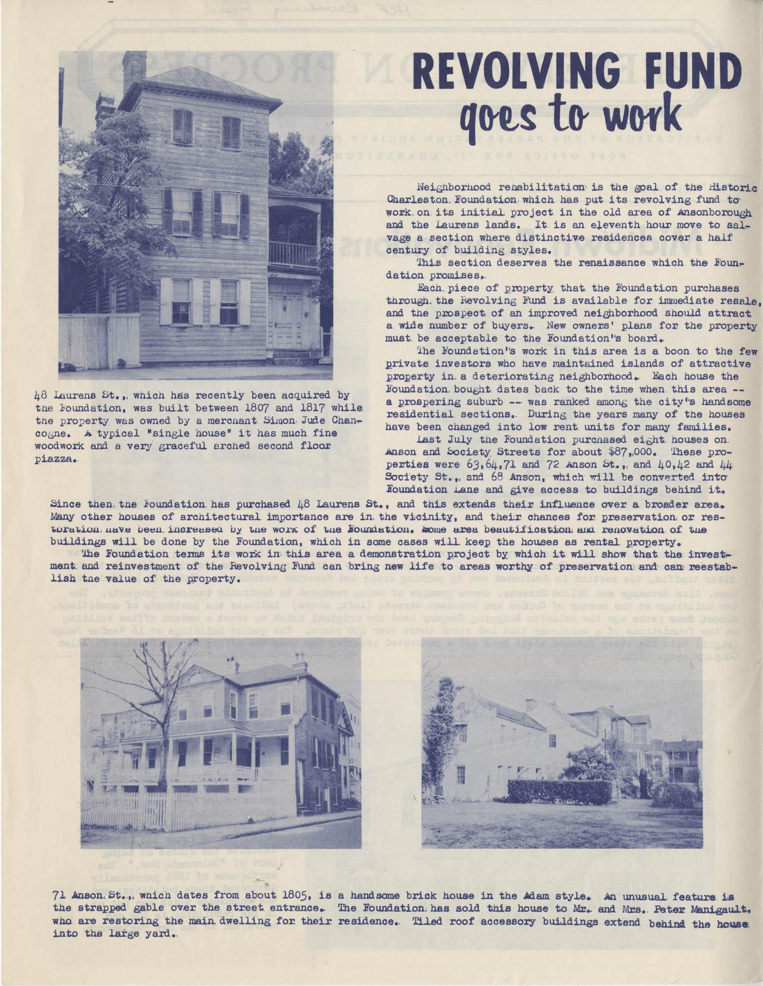 Preservation Progress, Vol. V, No. 1, Page 1