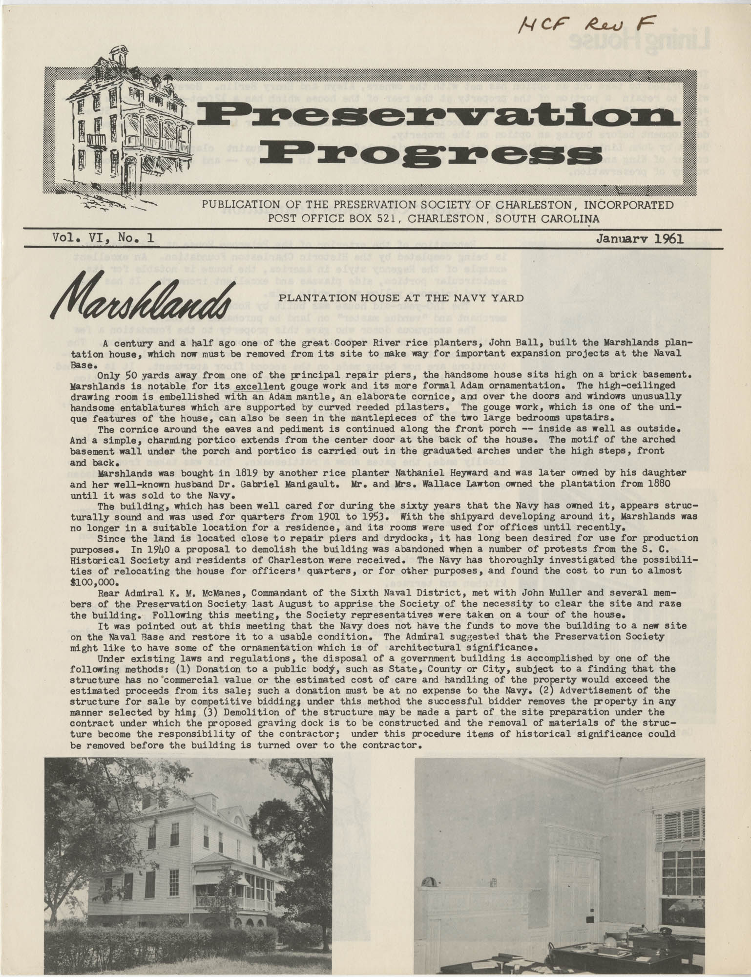 Preservation Progress, Vol. VI, No. 1, Cover
