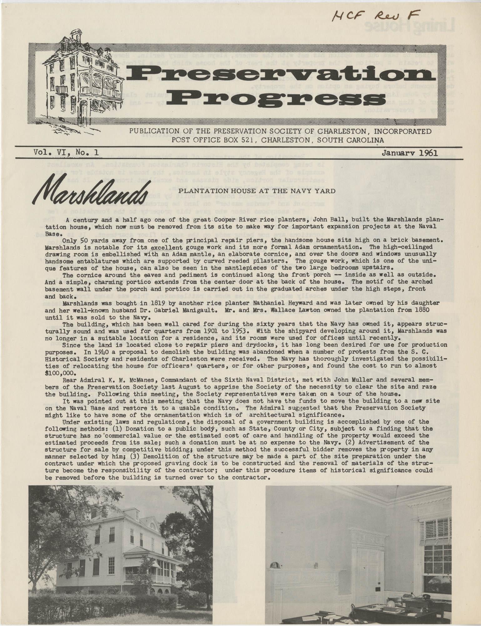 Preservation Progress, Vol. VI, No. 1, Cover