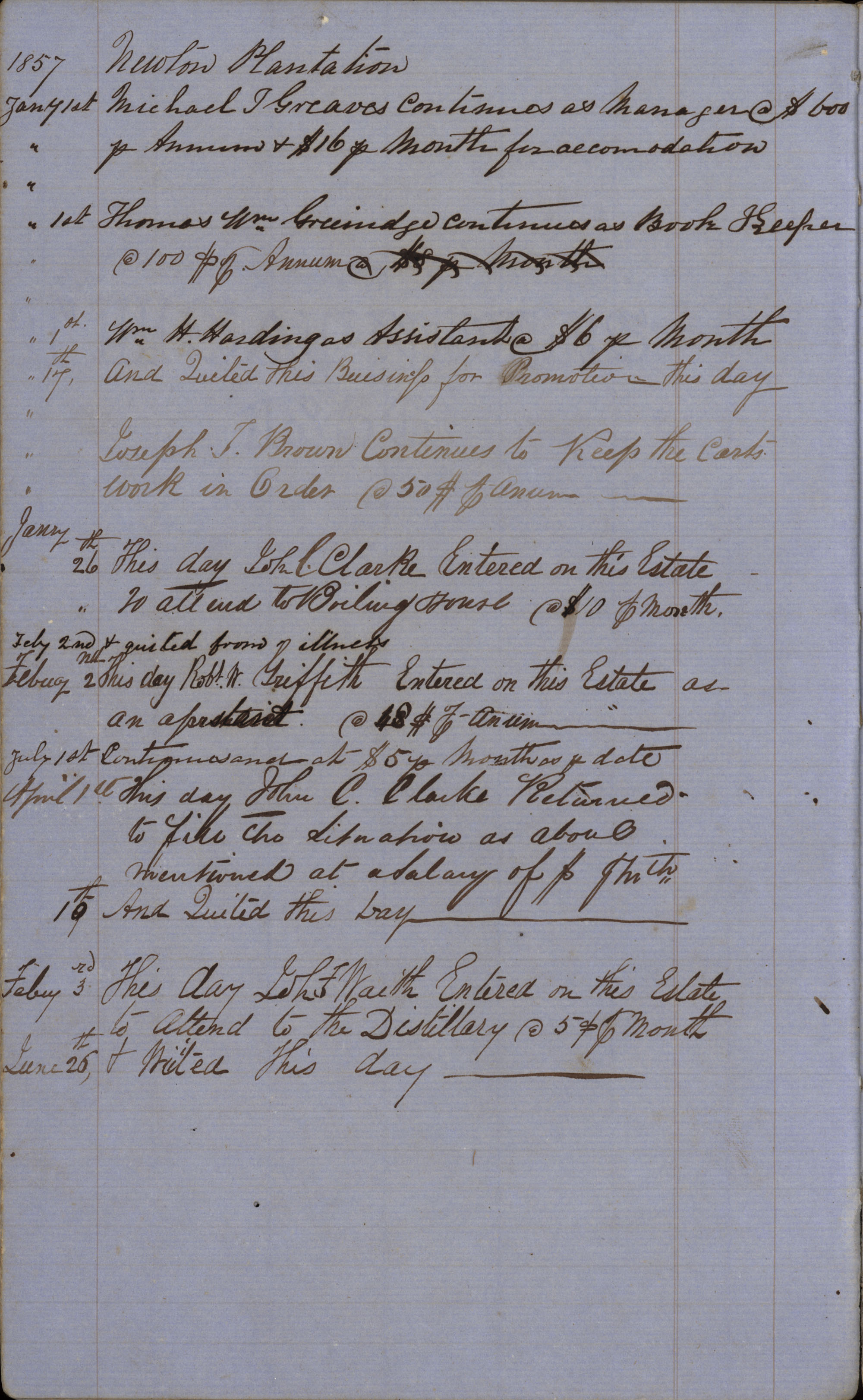 Page 16 Newton Plantation Rent Book 1857