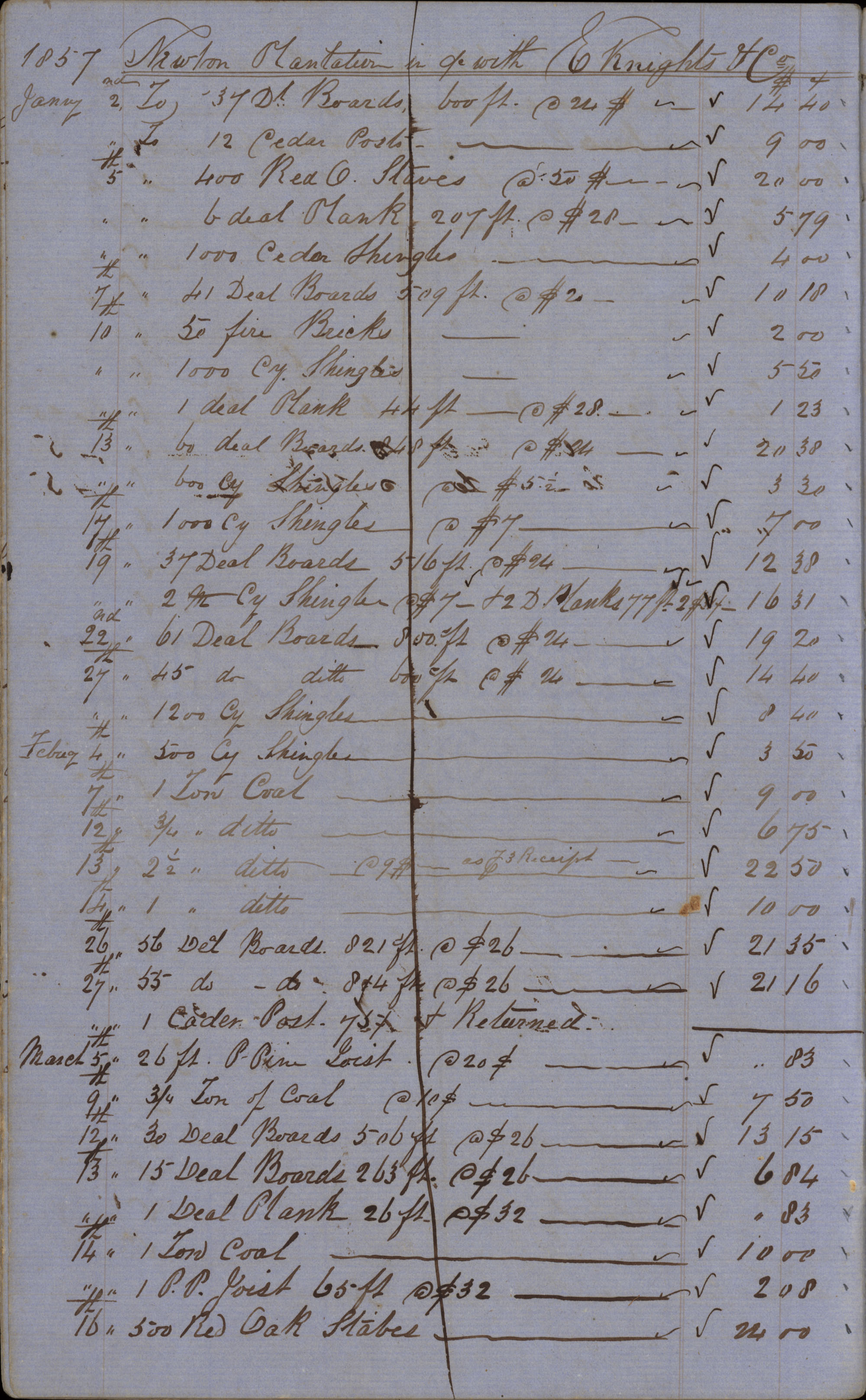 Page 18 Newton Plantation Rent Book 1857
