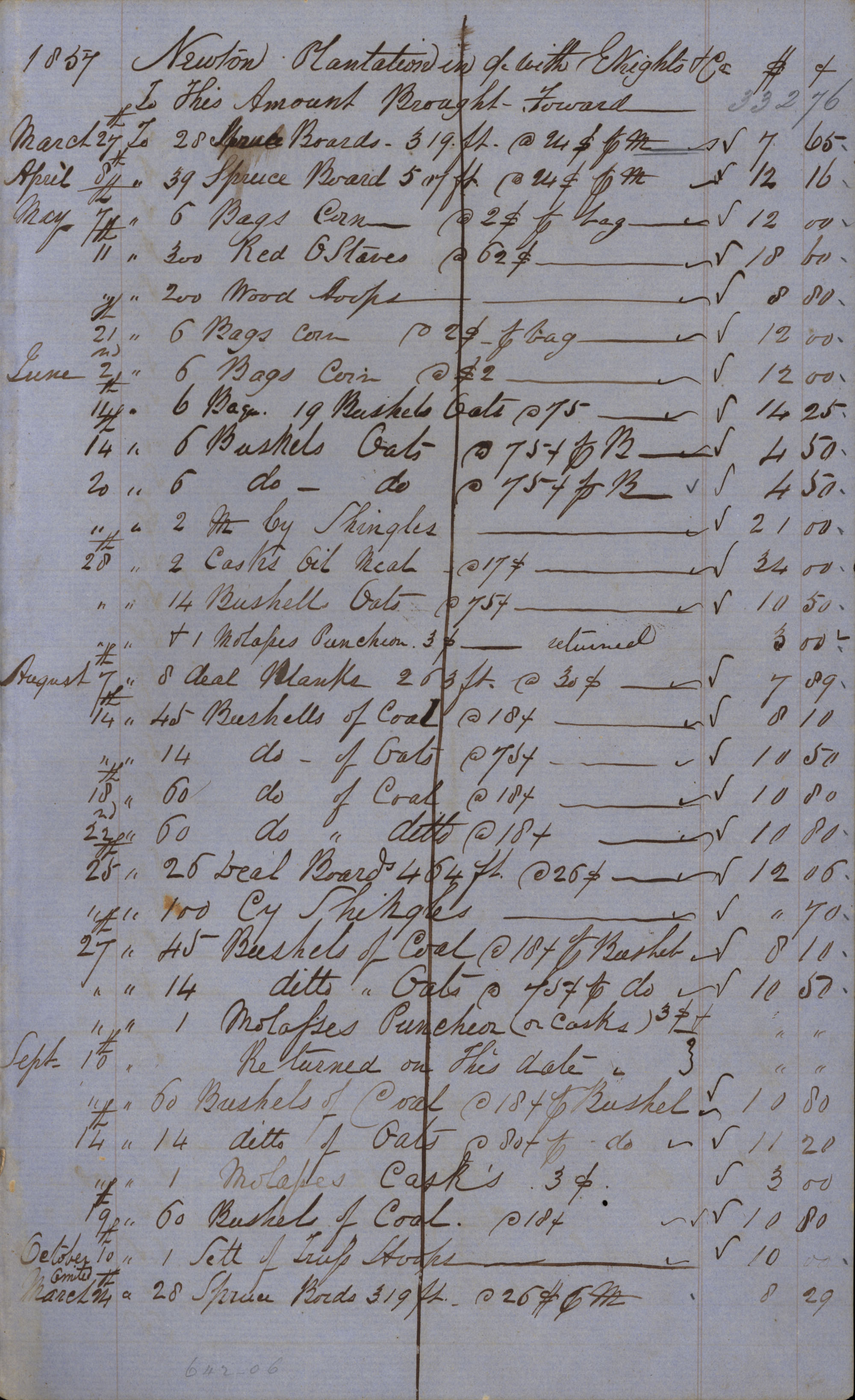 Page 19 Newton Plantation Rent Book 1857