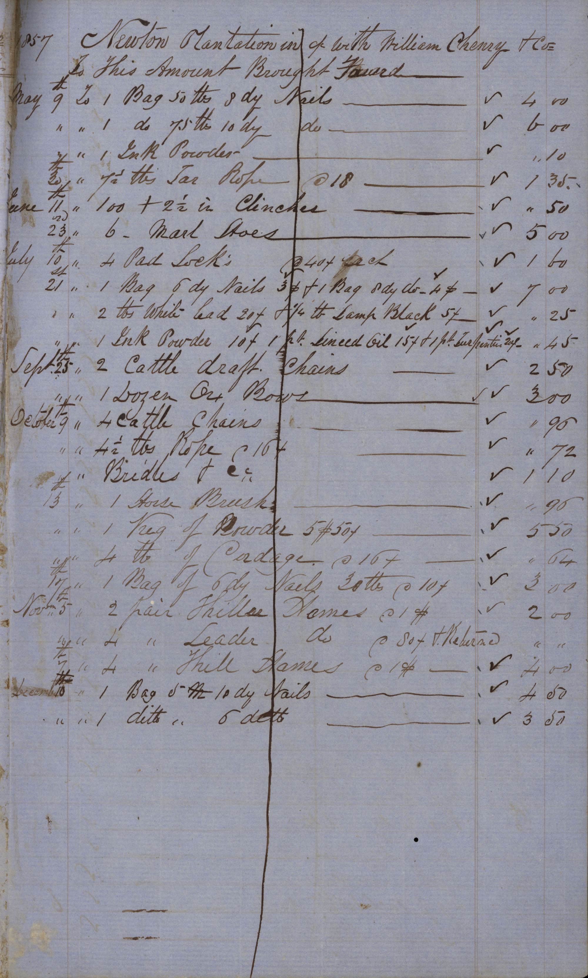 Page 21 Newton Plantation Rent Book 1857