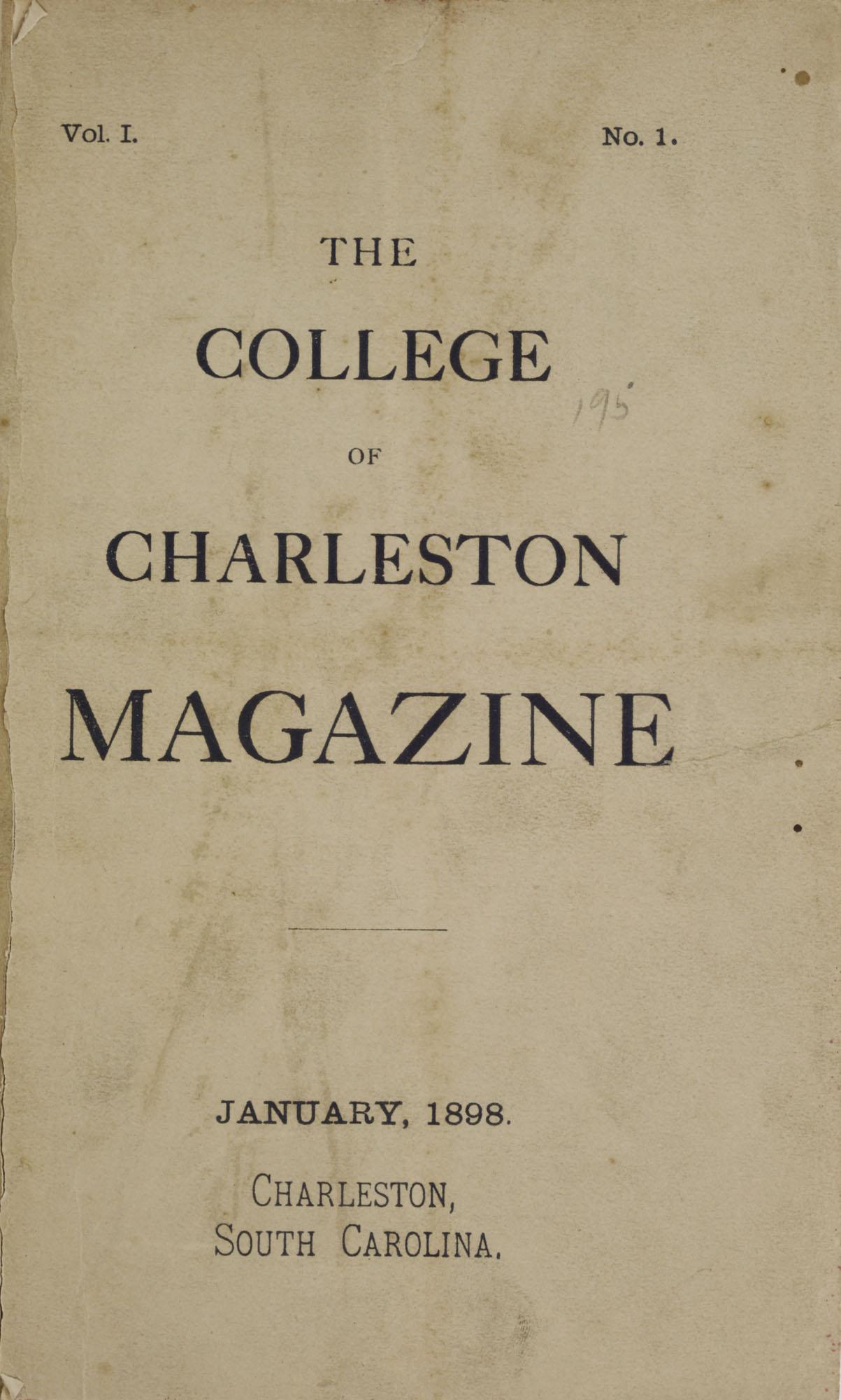 College of Charleston Magazine, 1898, Vol I. No. 1, title page