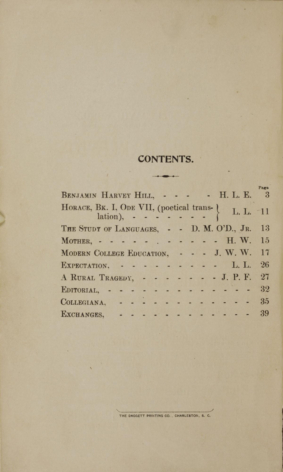 College of Charleston Magazine, 1898, Vol I. No. 1, page 2